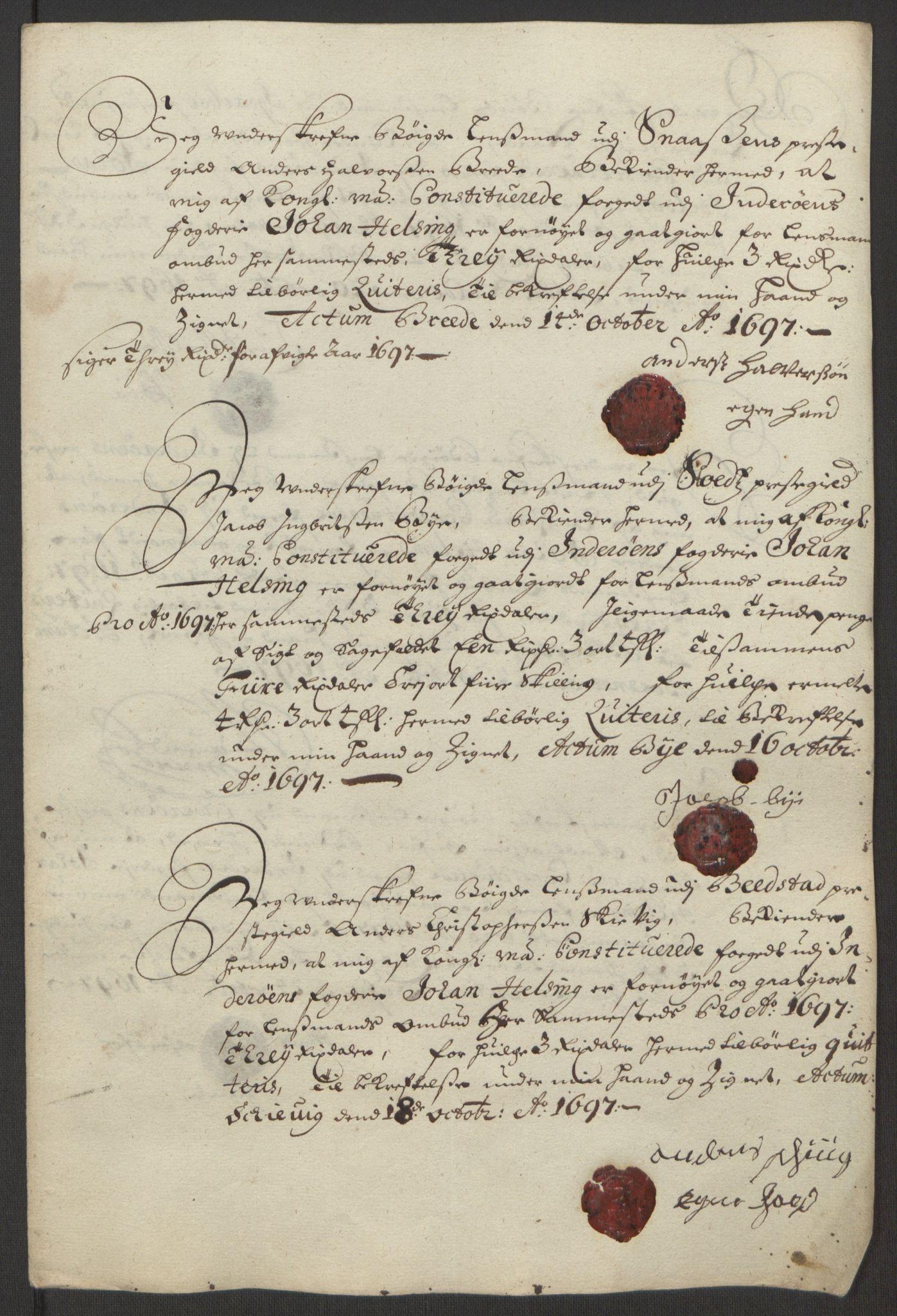 RA, Rentekammeret inntil 1814, Reviderte regnskaper, Fogderegnskap, R63/L4309: Fogderegnskap Inderøy, 1695-1697, s. 518