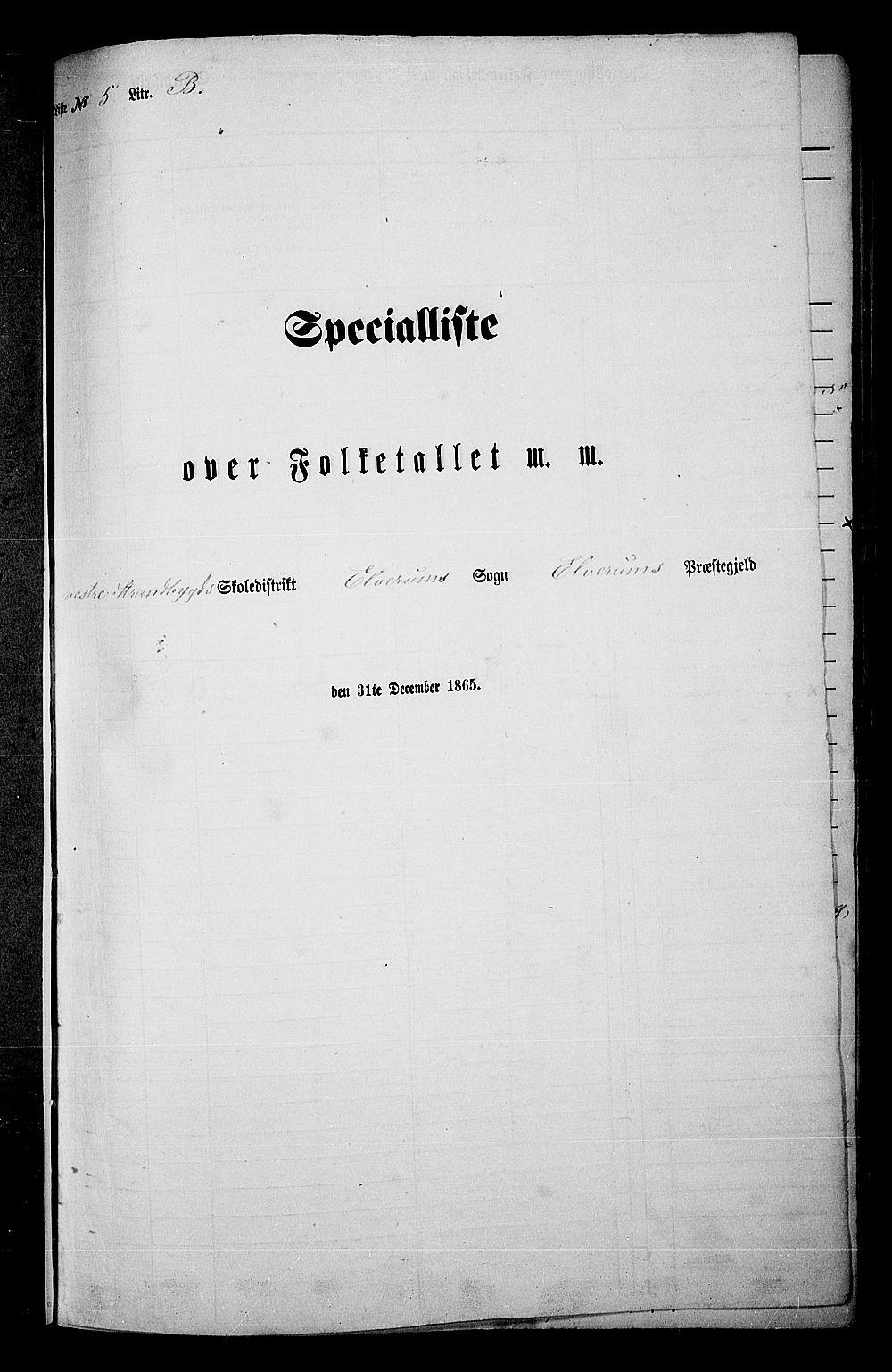 RA, Folketelling 1865 for 0427P Elverum prestegjeld, 1865, s. 130
