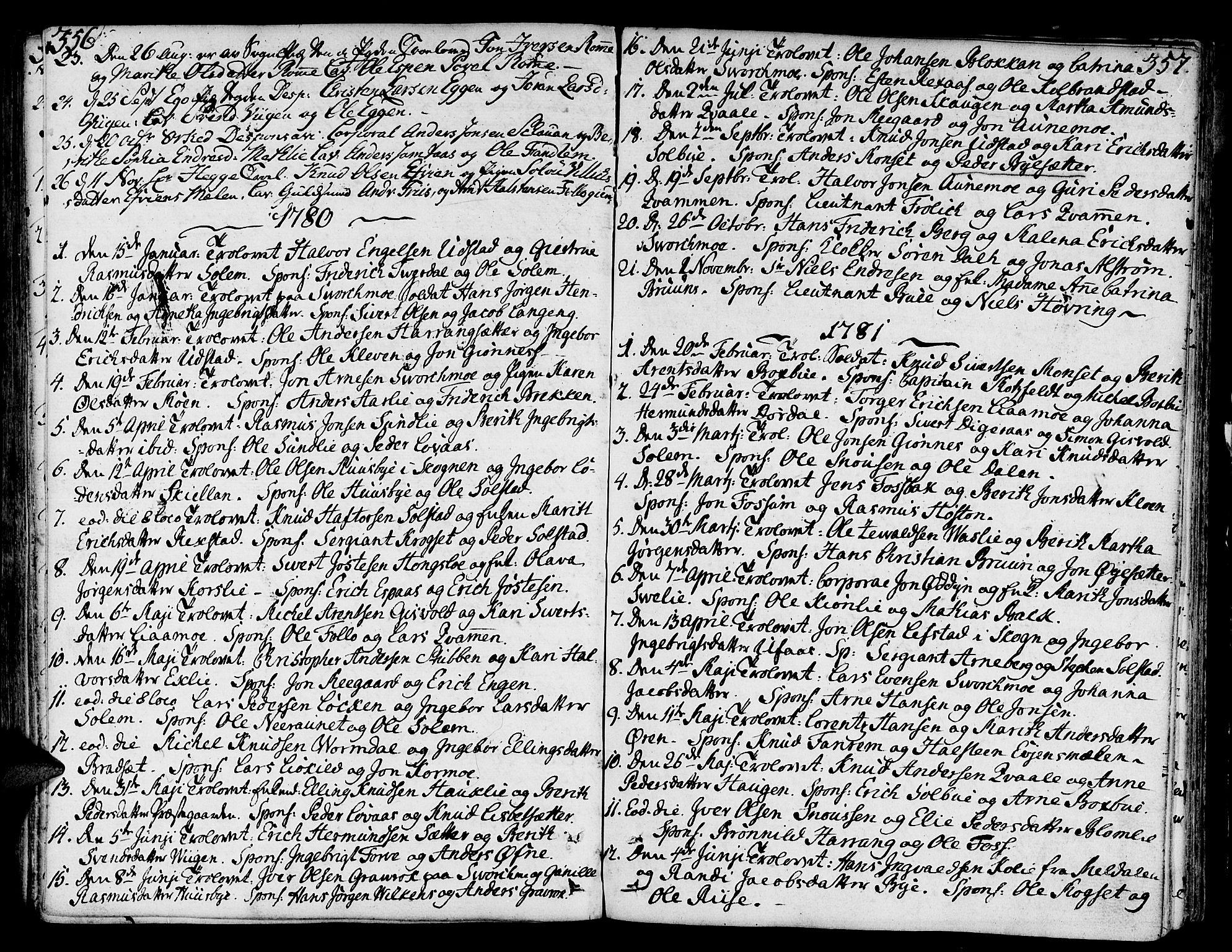 SAT, Ministerialprotokoller, klokkerbøker og fødselsregistre - Sør-Trøndelag, 668/L0802: Ministerialbok nr. 668A02, 1776-1799, s. 356-357