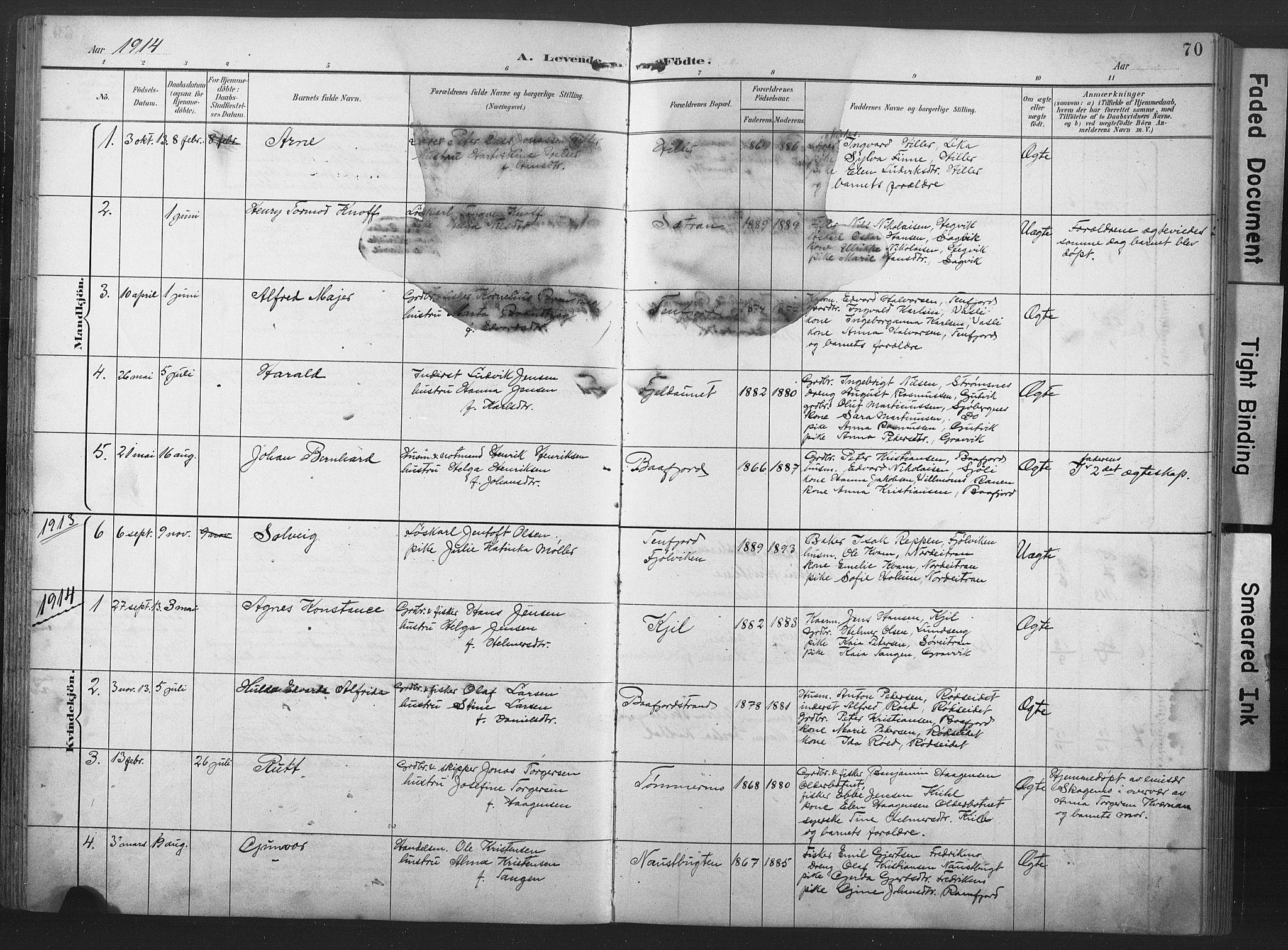 SAT, Ministerialprotokoller, klokkerbøker og fødselsregistre - Nord-Trøndelag, 789/L0706: Klokkerbok nr. 789C01, 1888-1931, s. 70