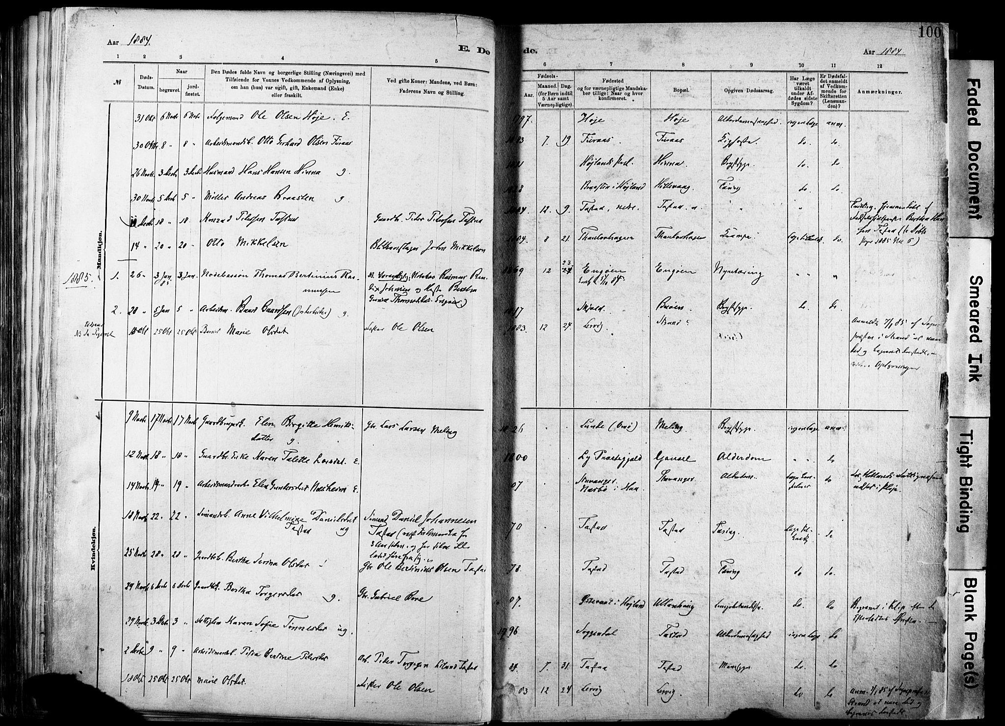 SAST, Hetland sokneprestkontor, 30/30BA/L0012: Ministerialbok nr. A 12, 1882-1912, s. 100