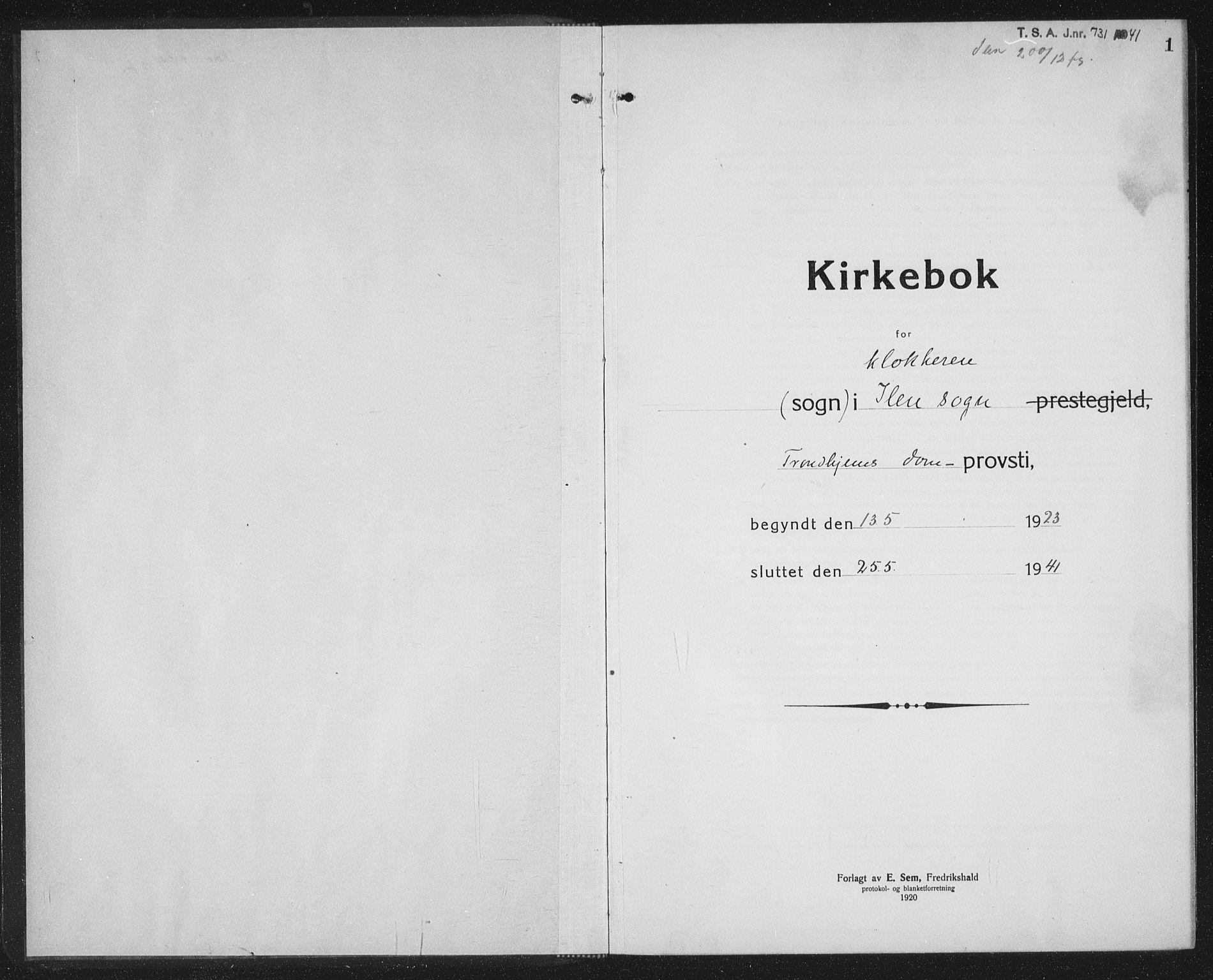 SAT, Ministerialprotokoller, klokkerbøker og fødselsregistre - Sør-Trøndelag, 603/L0175: Klokkerbok nr. 603C03, 1923-1941, s. 1
