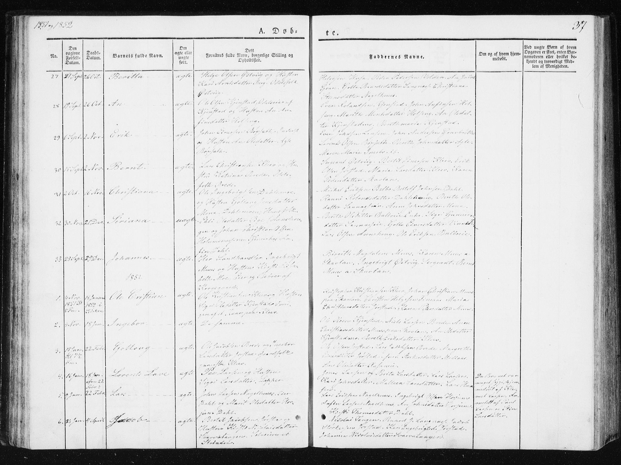 SAT, Ministerialprotokoller, klokkerbøker og fødselsregistre - Nord-Trøndelag, 749/L0470: Ministerialbok nr. 749A04, 1834-1853, s. 37