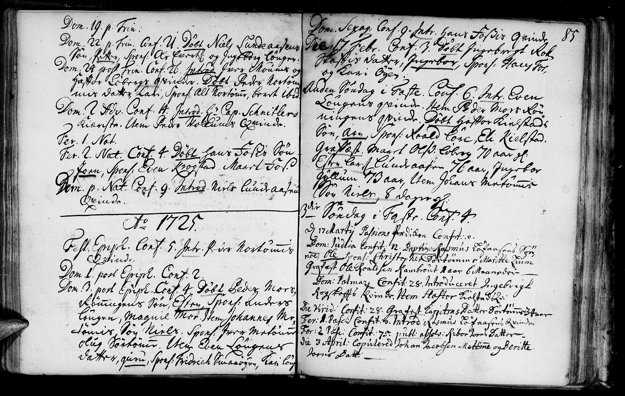 SAT, Ministerialprotokoller, klokkerbøker og fødselsregistre - Sør-Trøndelag, 692/L1101: Ministerialbok nr. 692A01, 1690-1746, s. 85