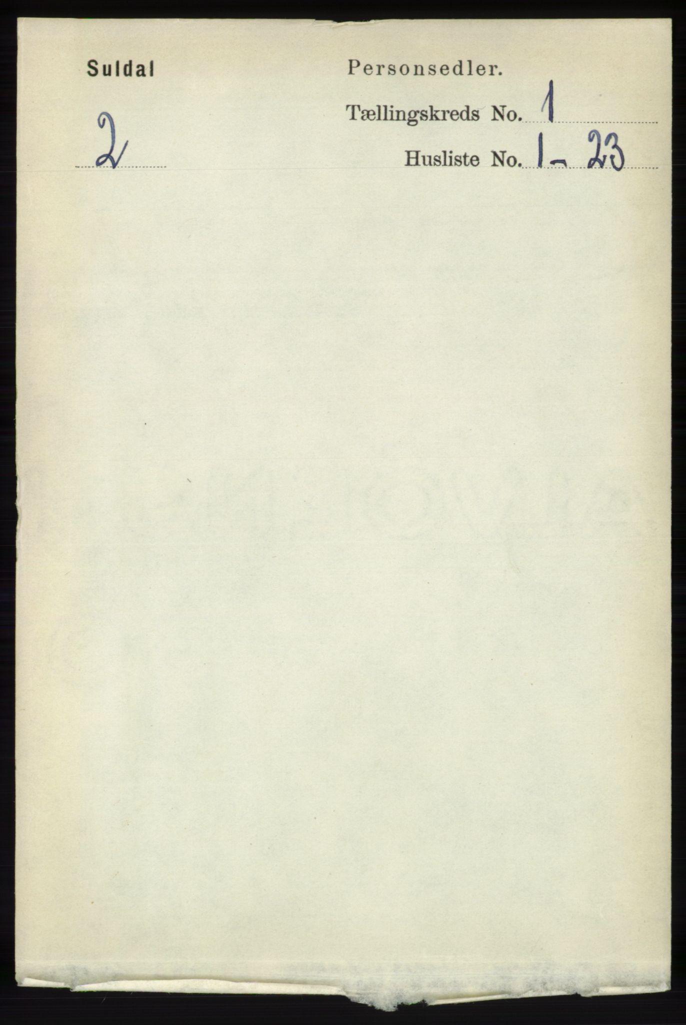 RA, Folketelling 1891 for 1134 Suldal herred, 1891, s. 49