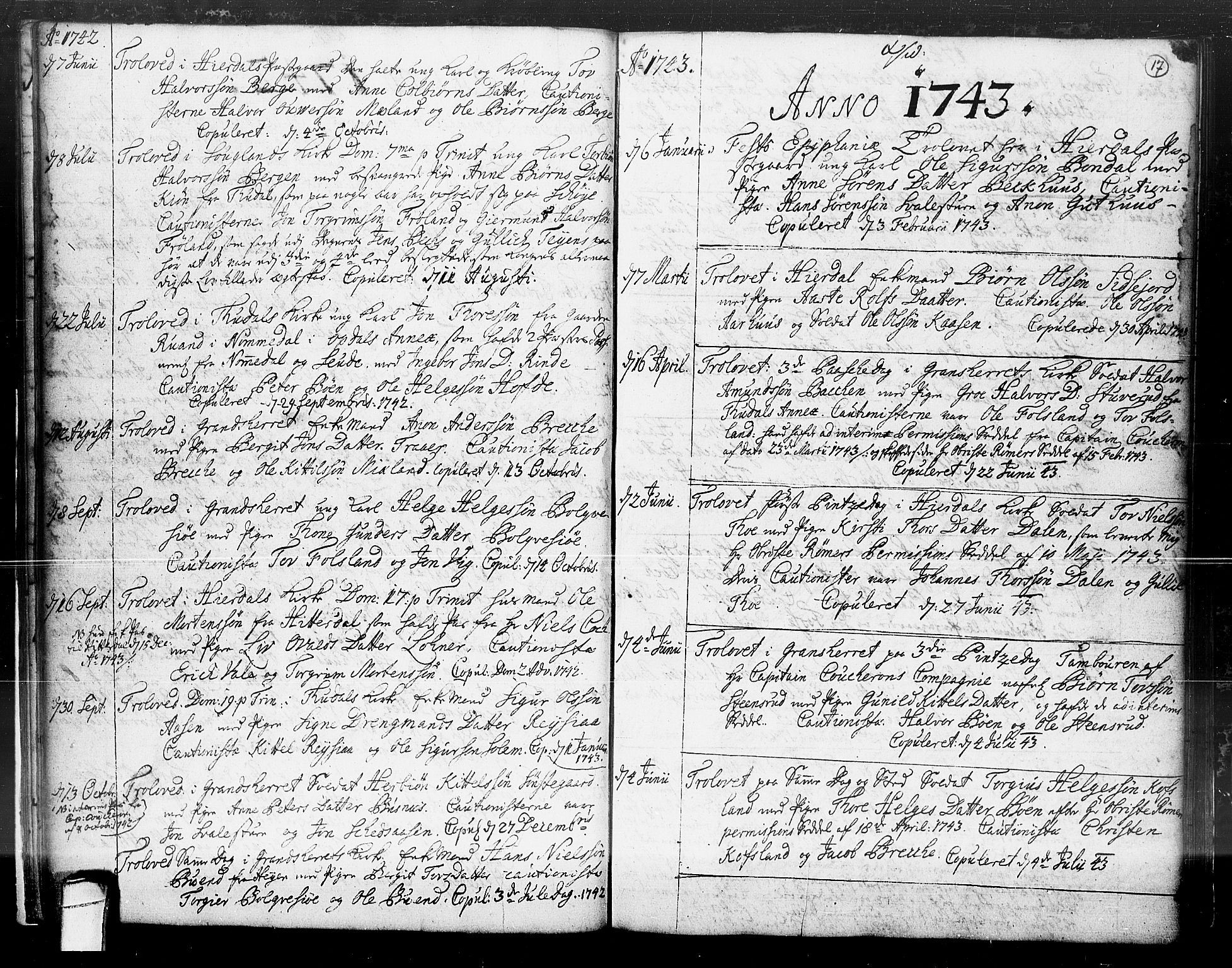 SAKO, Hjartdal kirkebøker, F/Fa/L0004: Ministerialbok nr. I 4, 1727-1795, s. 17