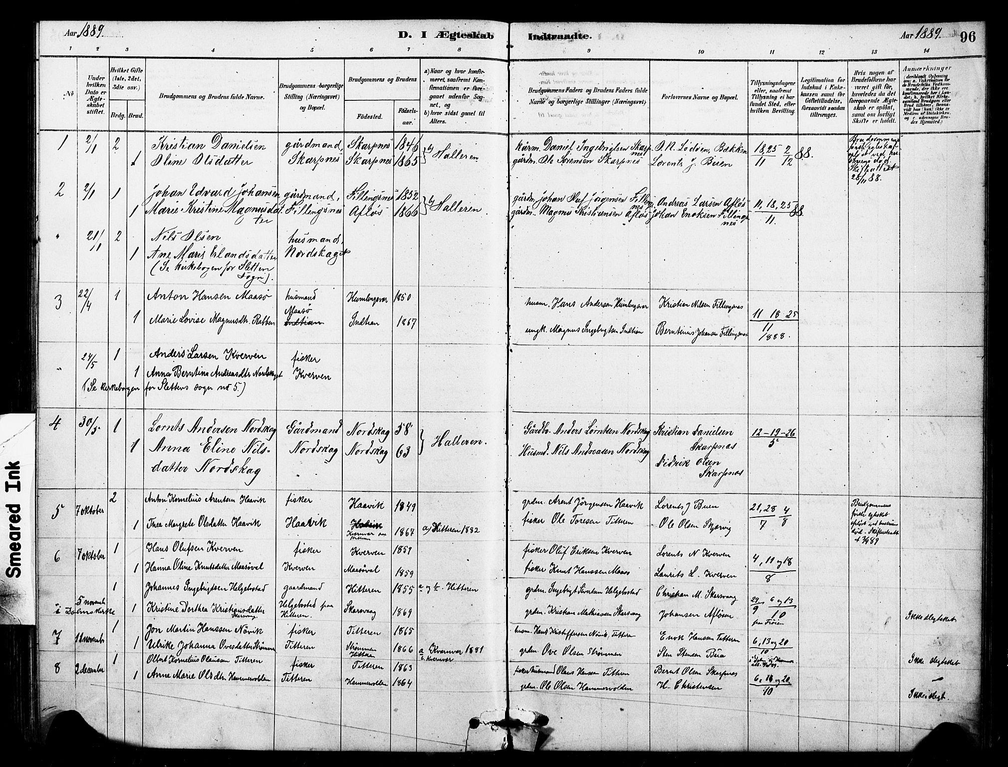 SAT, Ministerialprotokoller, klokkerbøker og fødselsregistre - Sør-Trøndelag, 641/L0595: Ministerialbok nr. 641A01, 1882-1897, s. 96