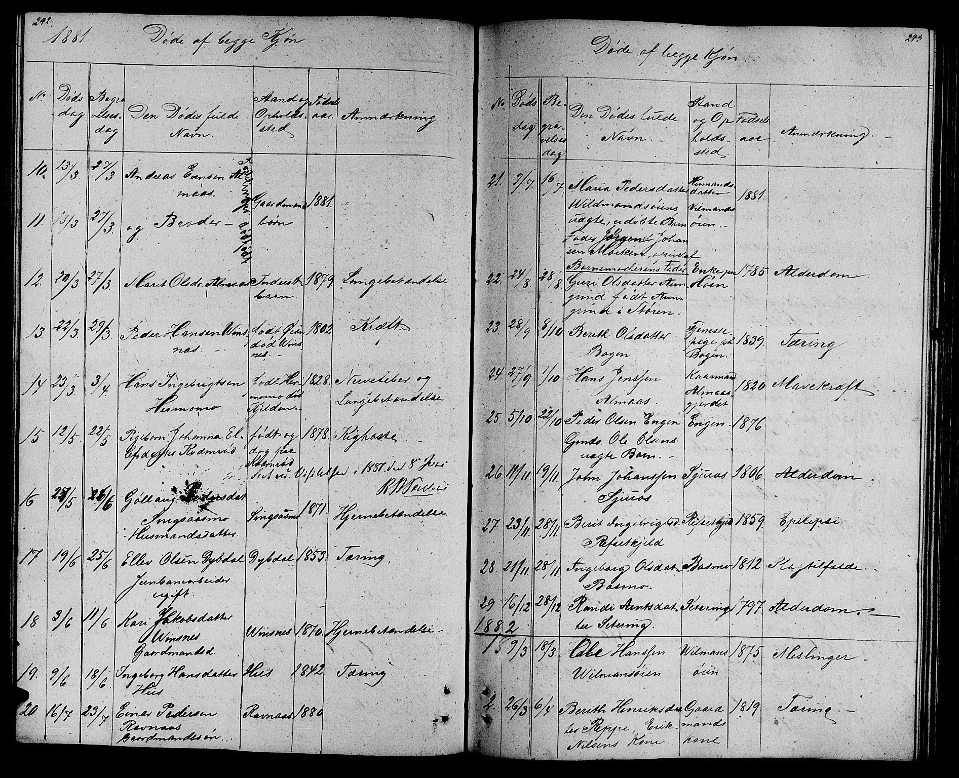 SAT, Ministerialprotokoller, klokkerbøker og fødselsregistre - Sør-Trøndelag, 688/L1027: Klokkerbok nr. 688C02, 1861-1889, s. 242-243