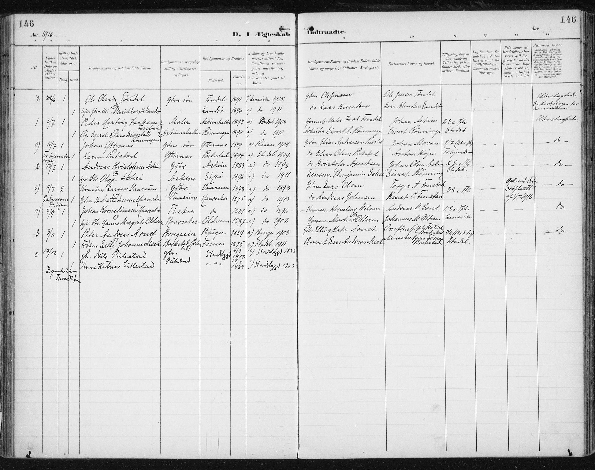 SAT, Ministerialprotokoller, klokkerbøker og fødselsregistre - Sør-Trøndelag, 646/L0616: Ministerialbok nr. 646A14, 1900-1918, s. 146