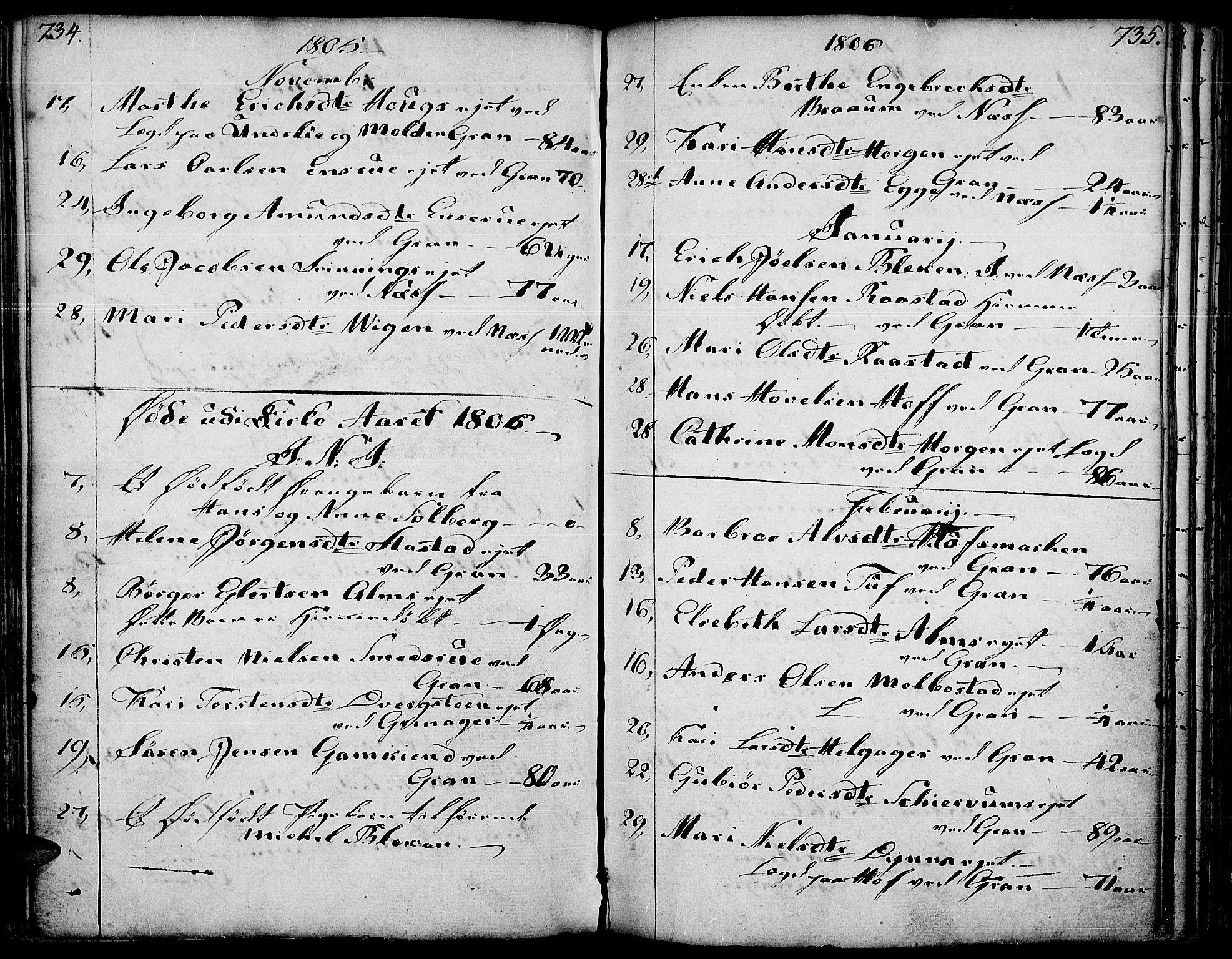 SAH, Gran prestekontor, Ministerialbok nr. 6, 1787-1824, s. 734-735