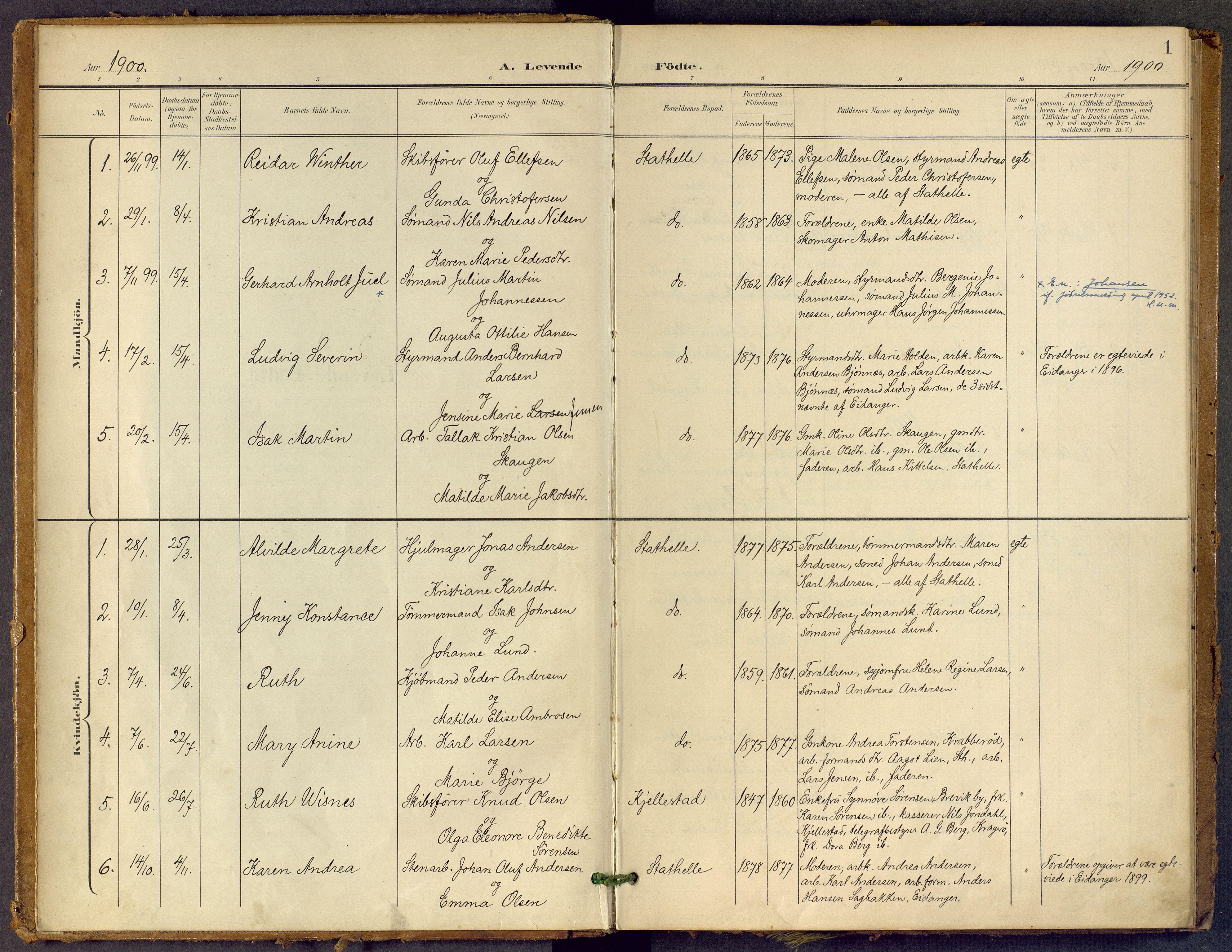 SAKO, Bamble kirkebøker, F/Fb/L0002: Ministerialbok nr. II 2, 1900-1921, s. 1