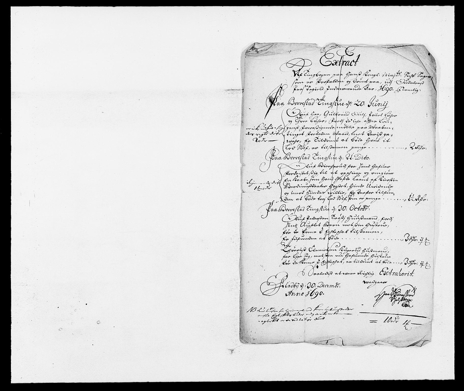 RA, Rentekammeret inntil 1814, Reviderte regnskaper, Fogderegnskap, R13/L0828: Fogderegnskap Solør, Odal og Østerdal, 1690, s. 197