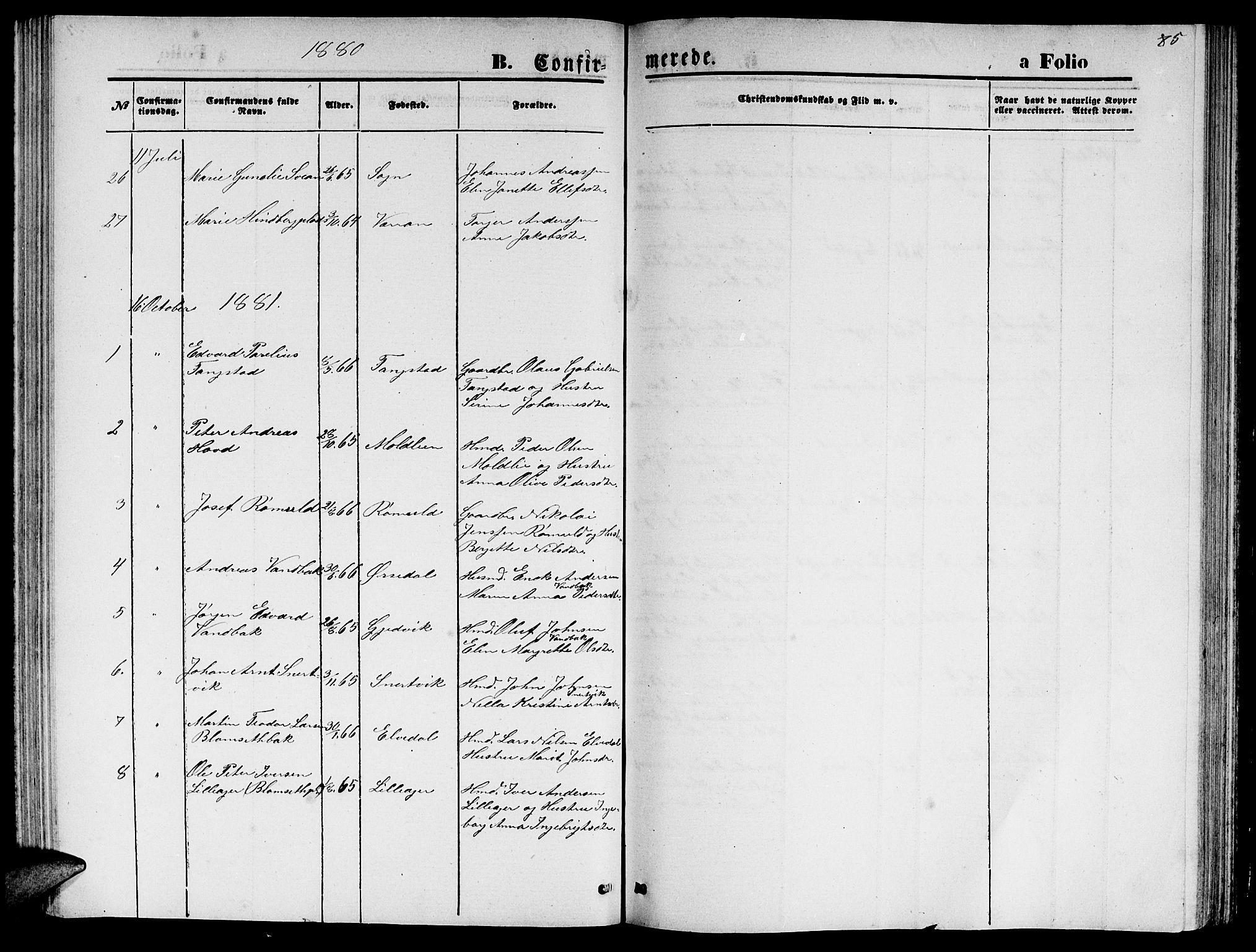 SAT, Ministerialprotokoller, klokkerbøker og fødselsregistre - Nord-Trøndelag, 744/L0422: Klokkerbok nr. 744C01, 1871-1885, s. 85