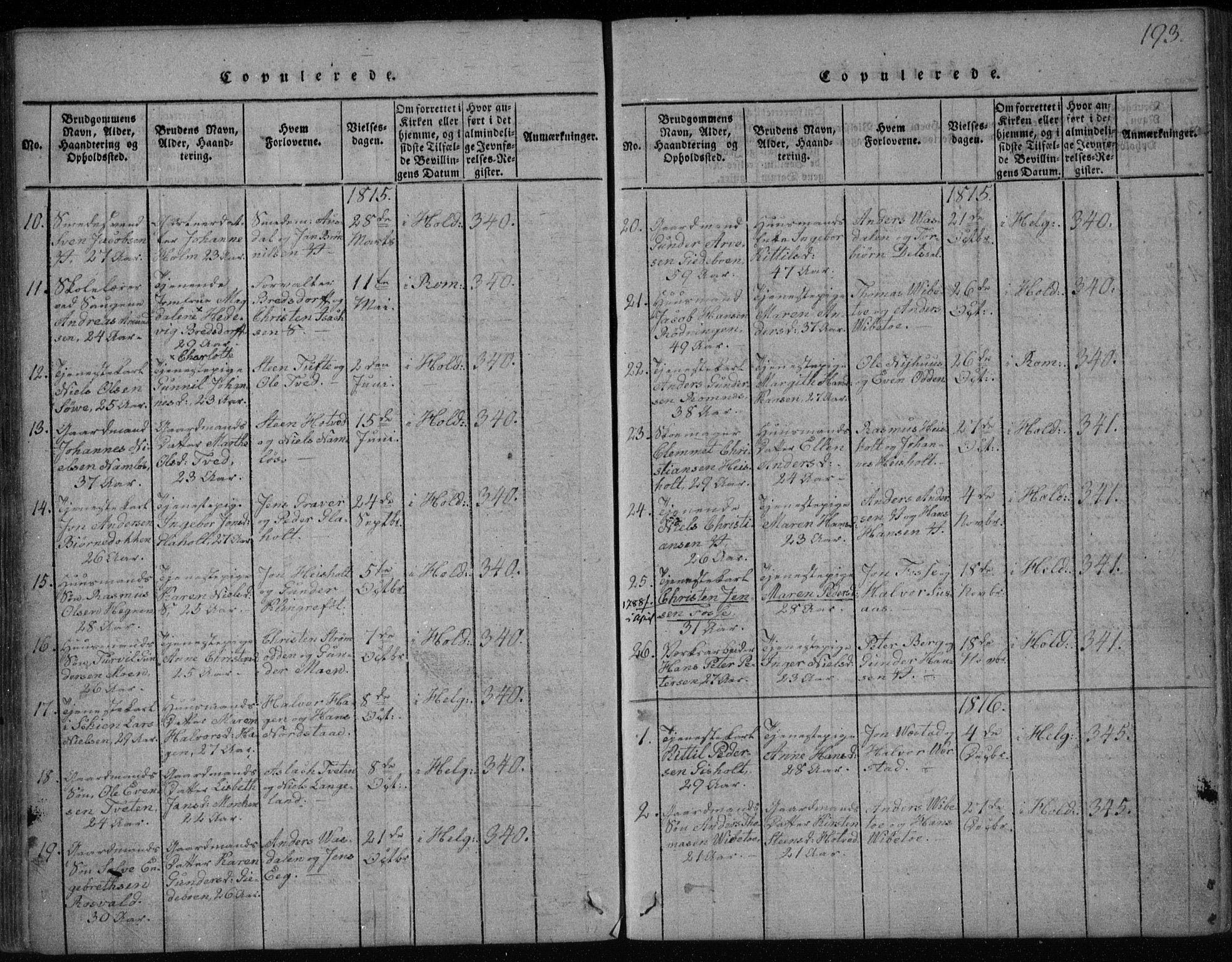 SAKO, Holla kirkebøker, F/Fa/L0003: Ministerialbok nr. 3, 1815-1830, s. 193