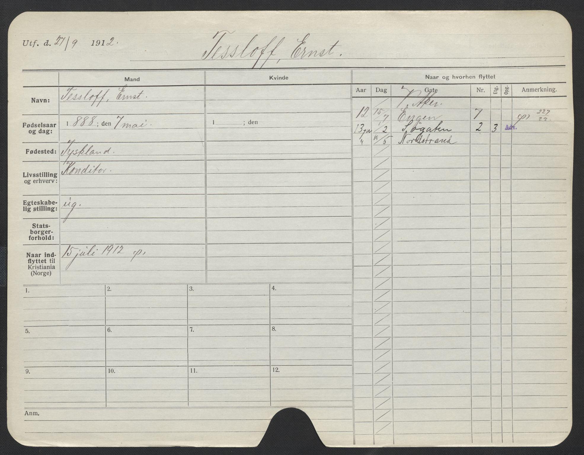 SAO, Oslo folkeregister, Registerkort, F/Fa/Fac/L0011: Menn, 1906-1914, s. 76a