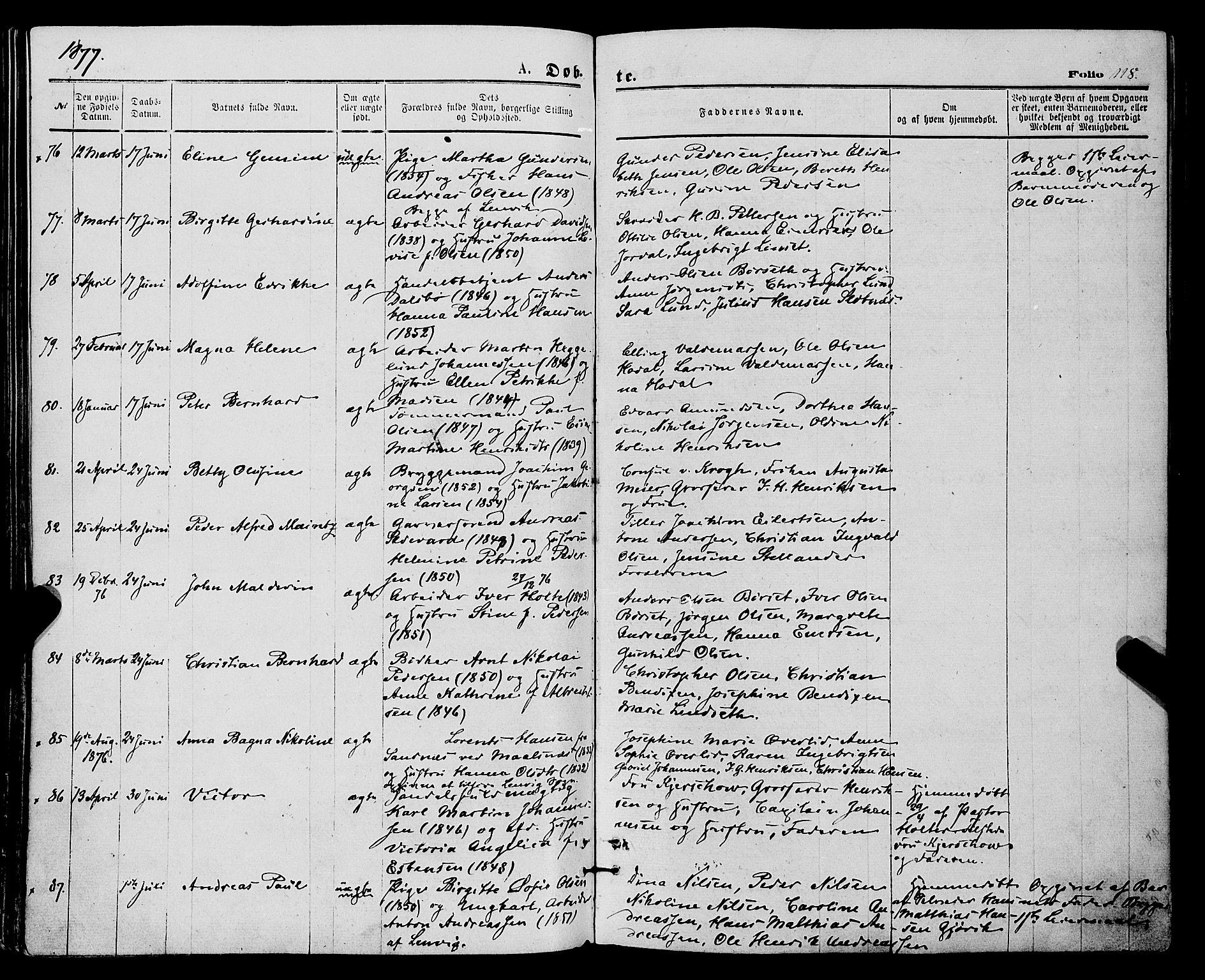 SATØ, Tromsø sokneprestkontor/stiftsprosti/domprosti, G/Ga/L0013kirke: Ministerialbok nr. 13, 1872-1877, s. 118