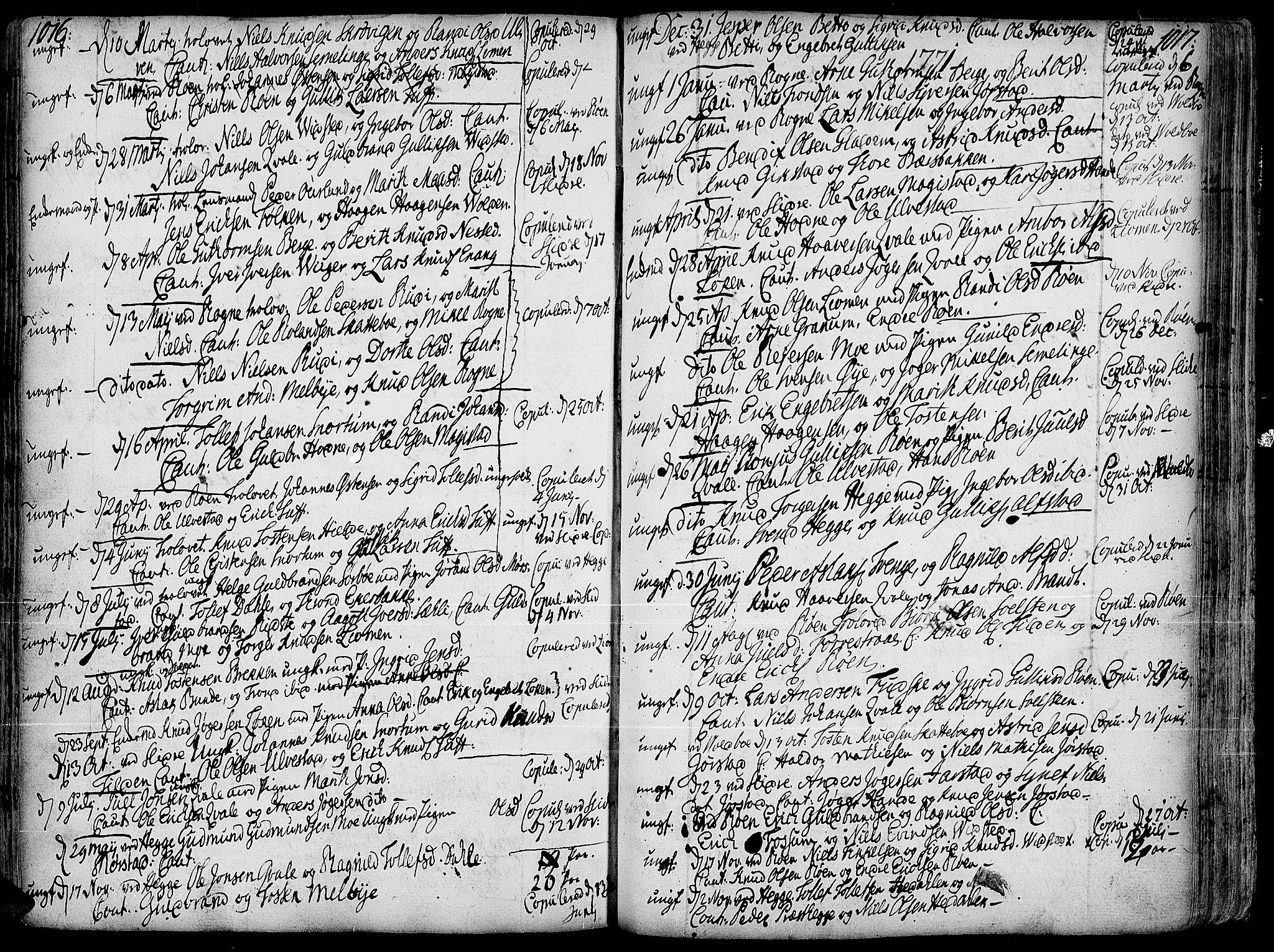 SAH, Slidre prestekontor, Ministerialbok nr. 1, 1724-1814, s. 1016-1017