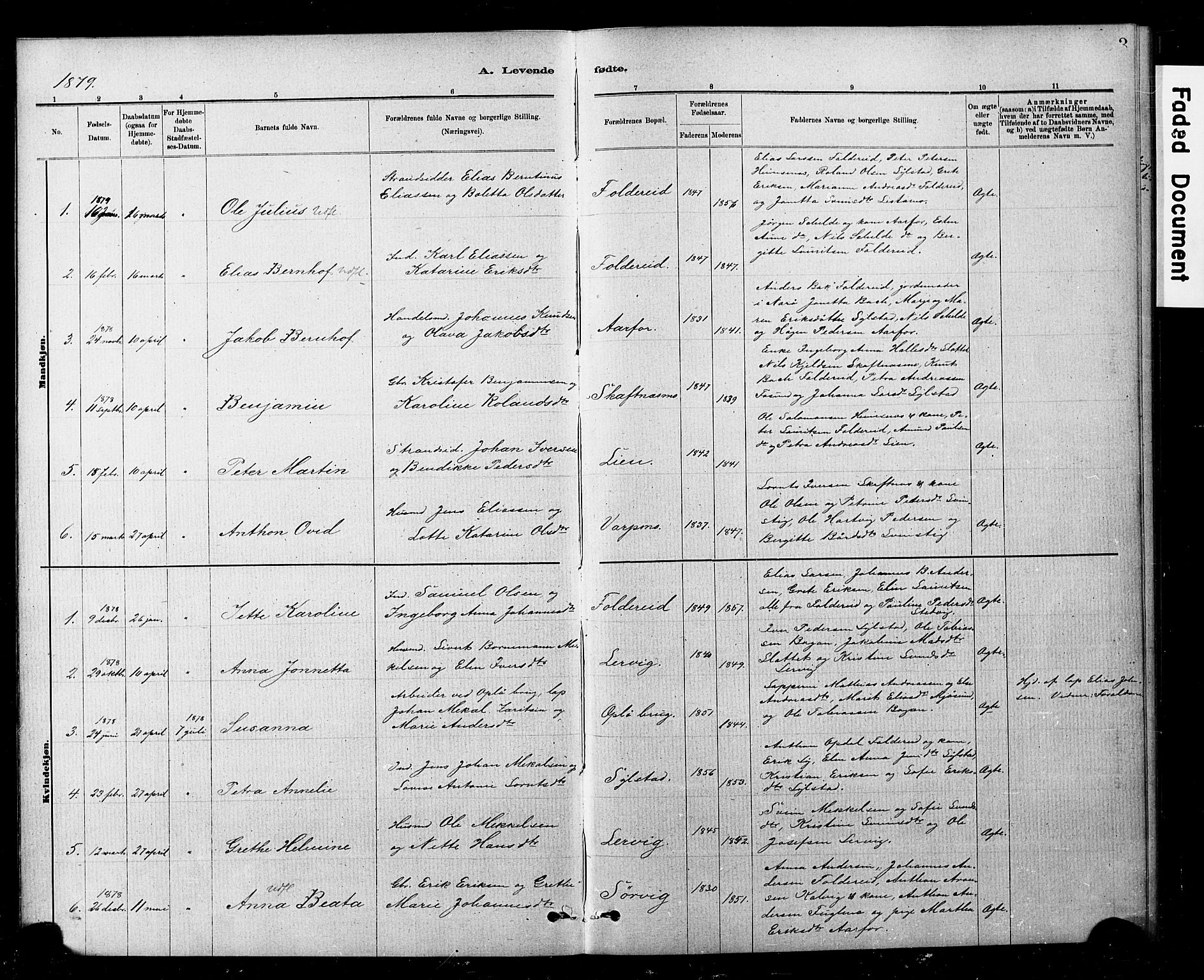 SAT, Ministerialprotokoller, klokkerbøker og fødselsregistre - Nord-Trøndelag, 783/L0661: Klokkerbok nr. 783C01, 1878-1893, s. 3
