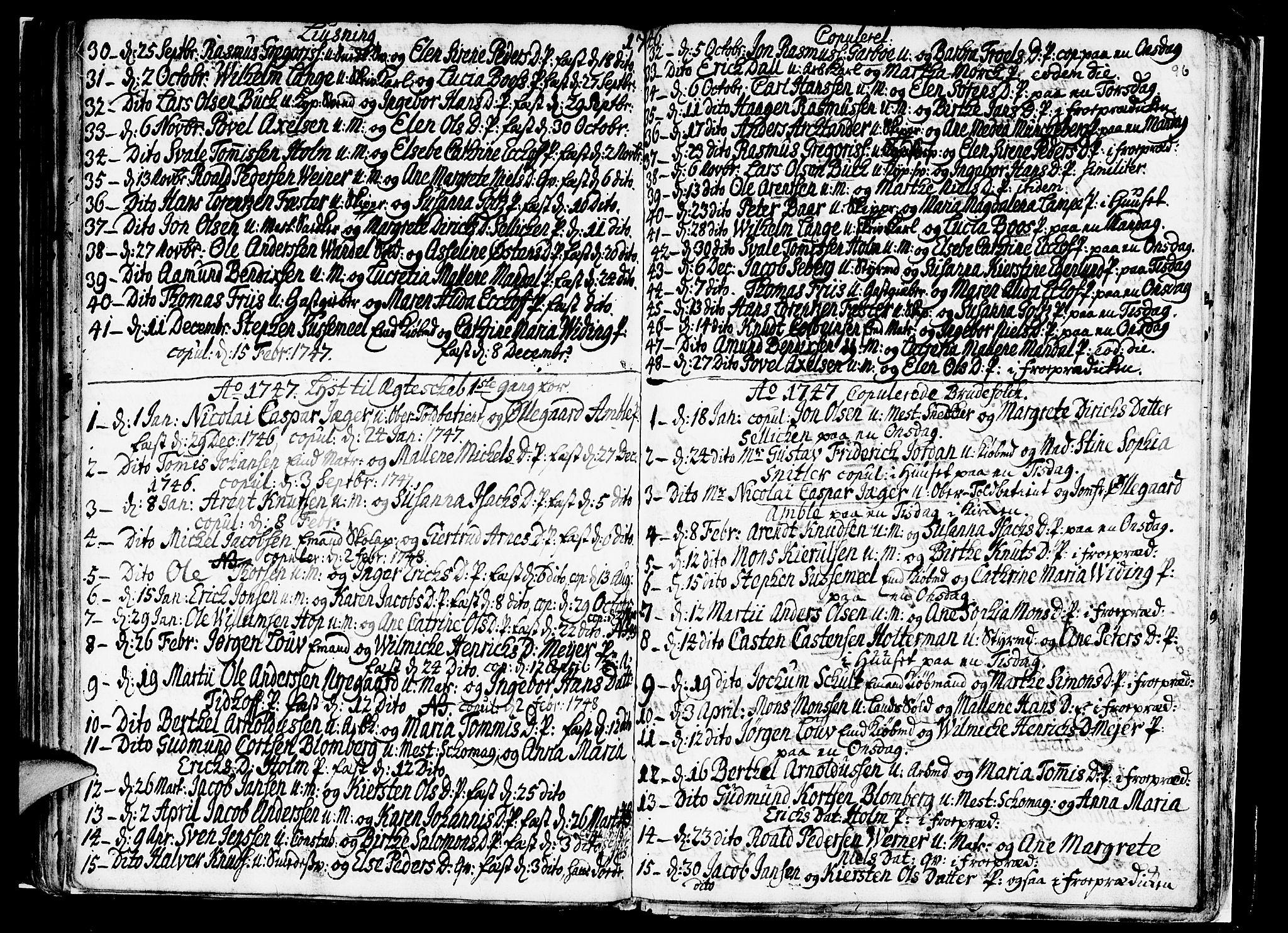 SAB, Nykirken Sokneprestembete, H/Haa: Ministerialbok nr. A 7, 1719-1781, s. 96