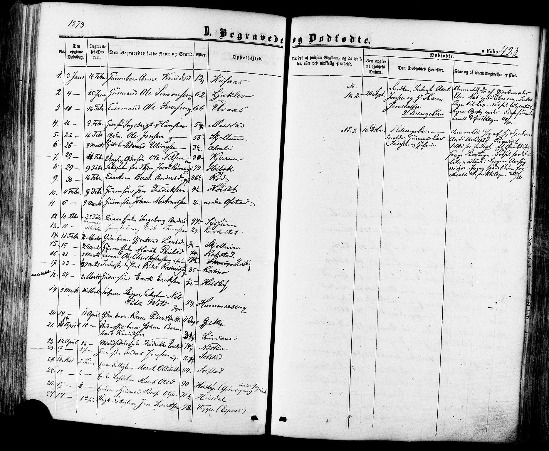 SAT, Ministerialprotokoller, klokkerbøker og fødselsregistre - Sør-Trøndelag, 665/L0772: Ministerialbok nr. 665A07, 1856-1878, s. 423