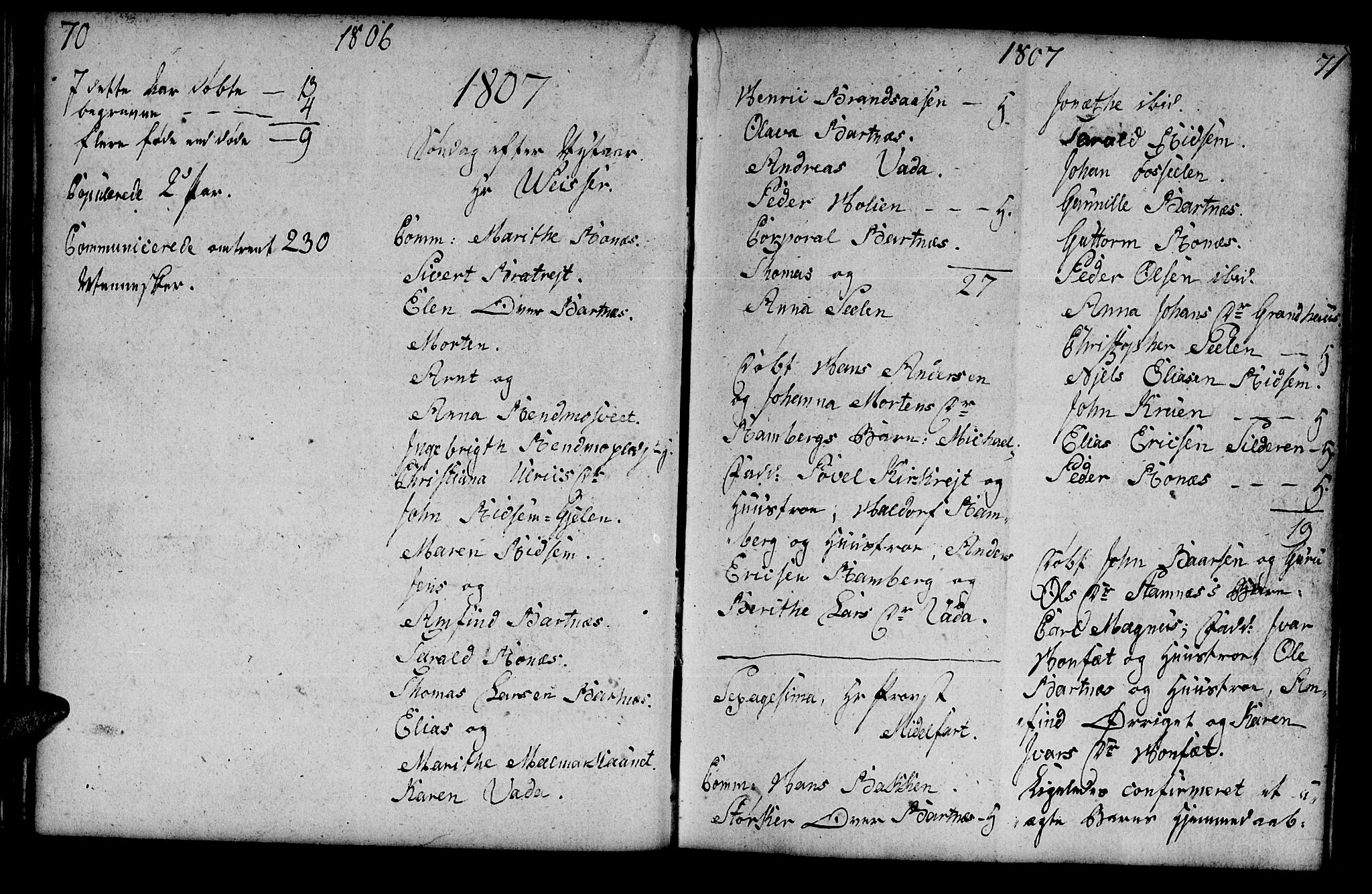 SAT, Ministerialprotokoller, klokkerbøker og fødselsregistre - Nord-Trøndelag, 745/L0432: Klokkerbok nr. 745C01, 1802-1814, s. 70-71