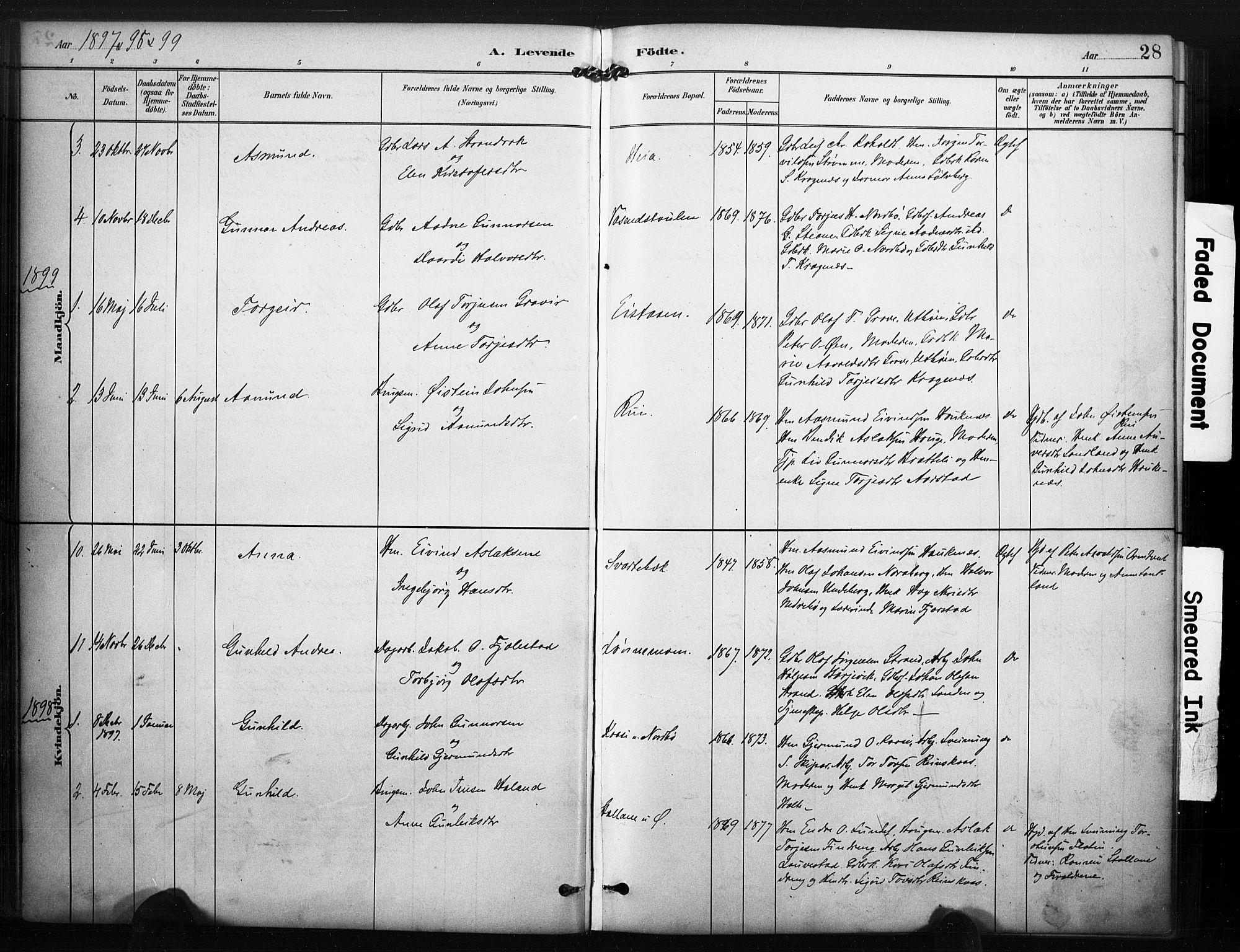 SAKO, Kviteseid kirkebøker, F/Fc/L0002: Ministerialbok nr. III 2, 1882-1908, s. 28
