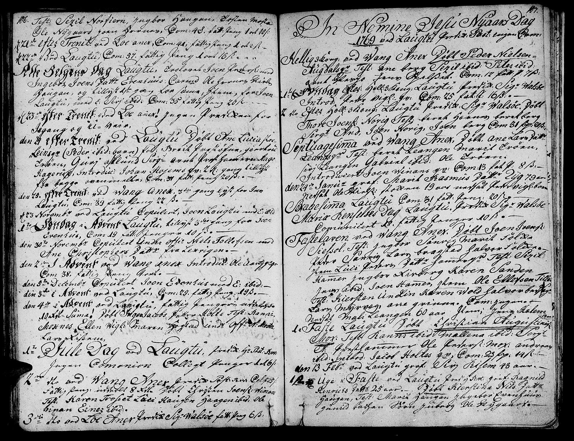 SAT, Ministerialprotokoller, klokkerbøker og fødselsregistre - Nord-Trøndelag, 713/L0109: Ministerialbok nr. 713A01, 1750-1778, s. 106-107