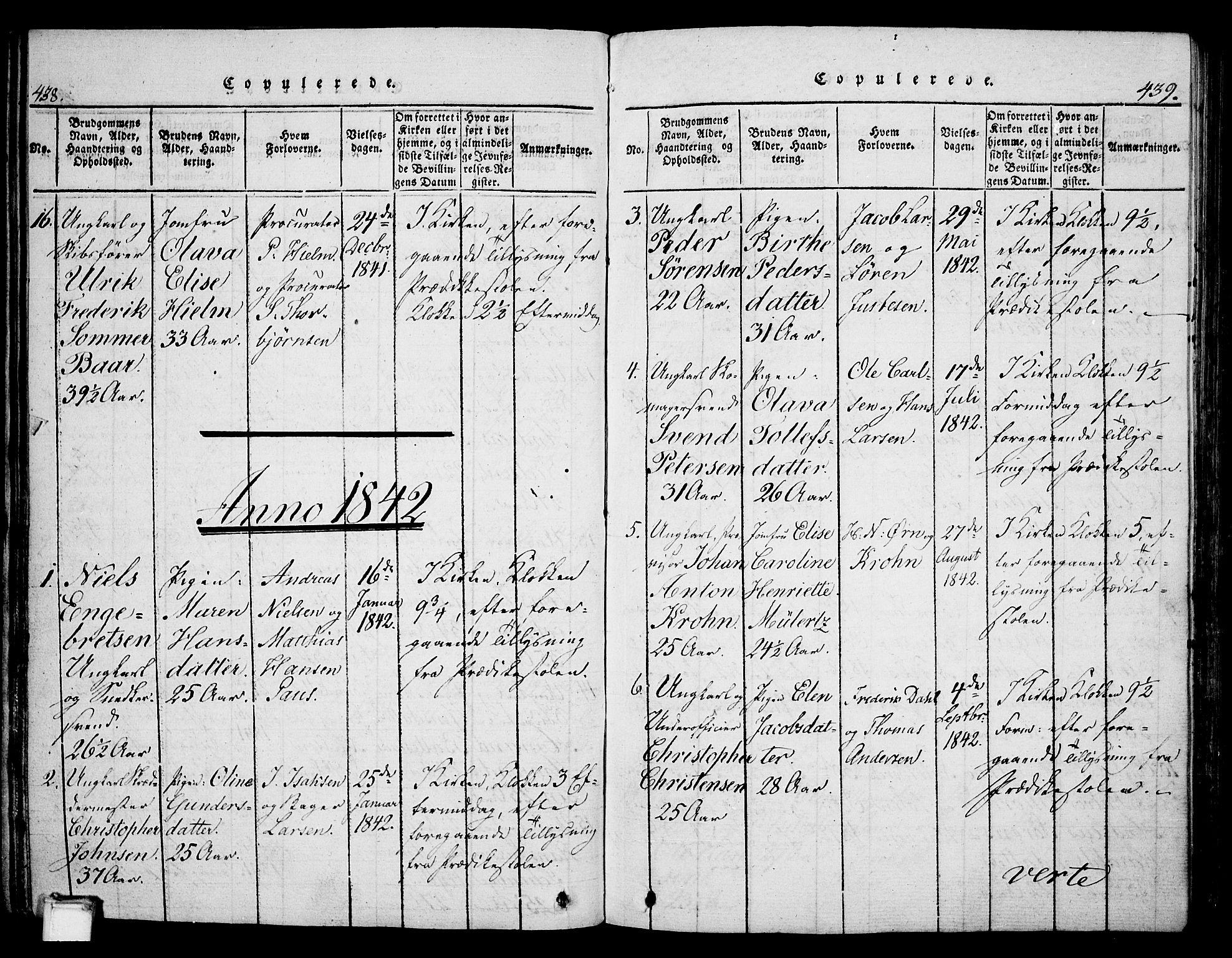 SAKO, Skien kirkebøker, G/Ga/L0002: Klokkerbok nr. 2, 1814-1842, s. 438-439