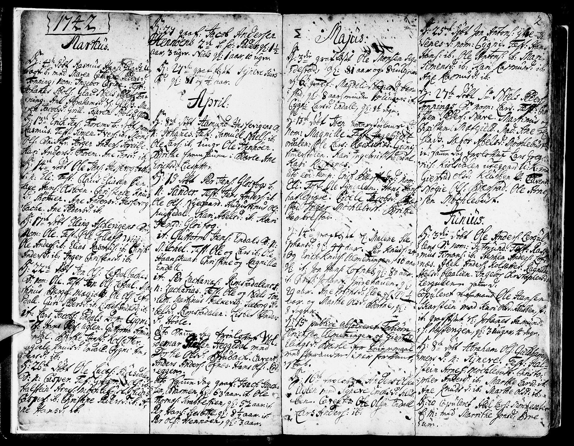 SAB, Davik Sokneprestembete, Ministerialbok nr. A 2, 1742-1816, s. 2