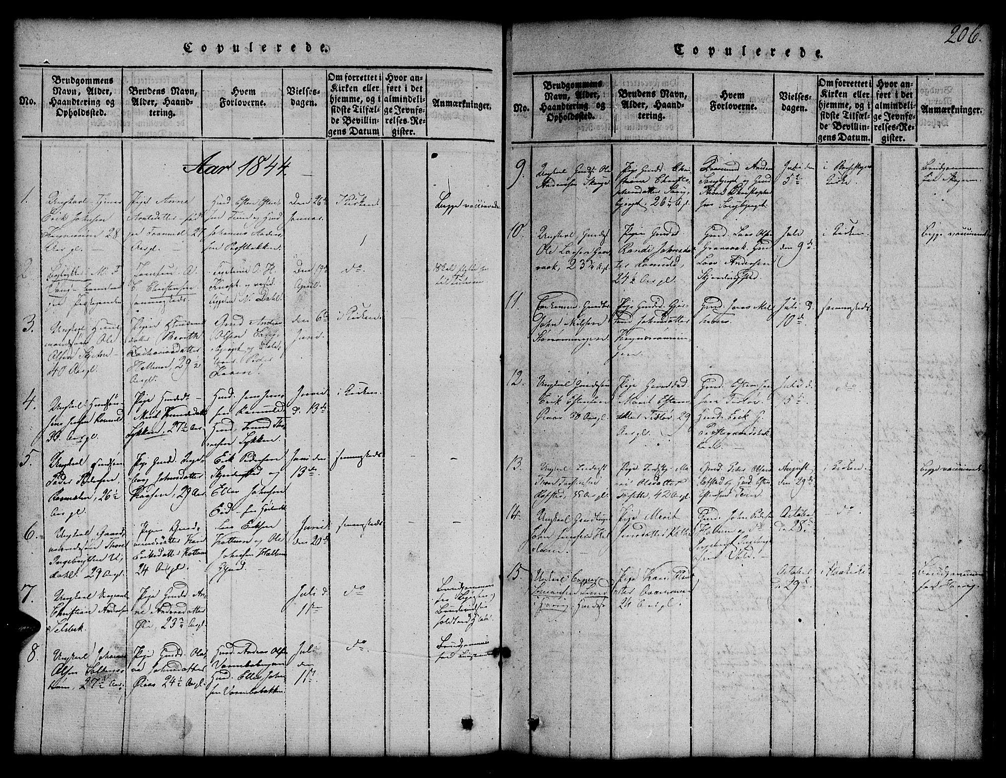 SAT, Ministerialprotokoller, klokkerbøker og fødselsregistre - Sør-Trøndelag, 691/L1092: Klokkerbok nr. 691C03, 1816-1852, s. 206