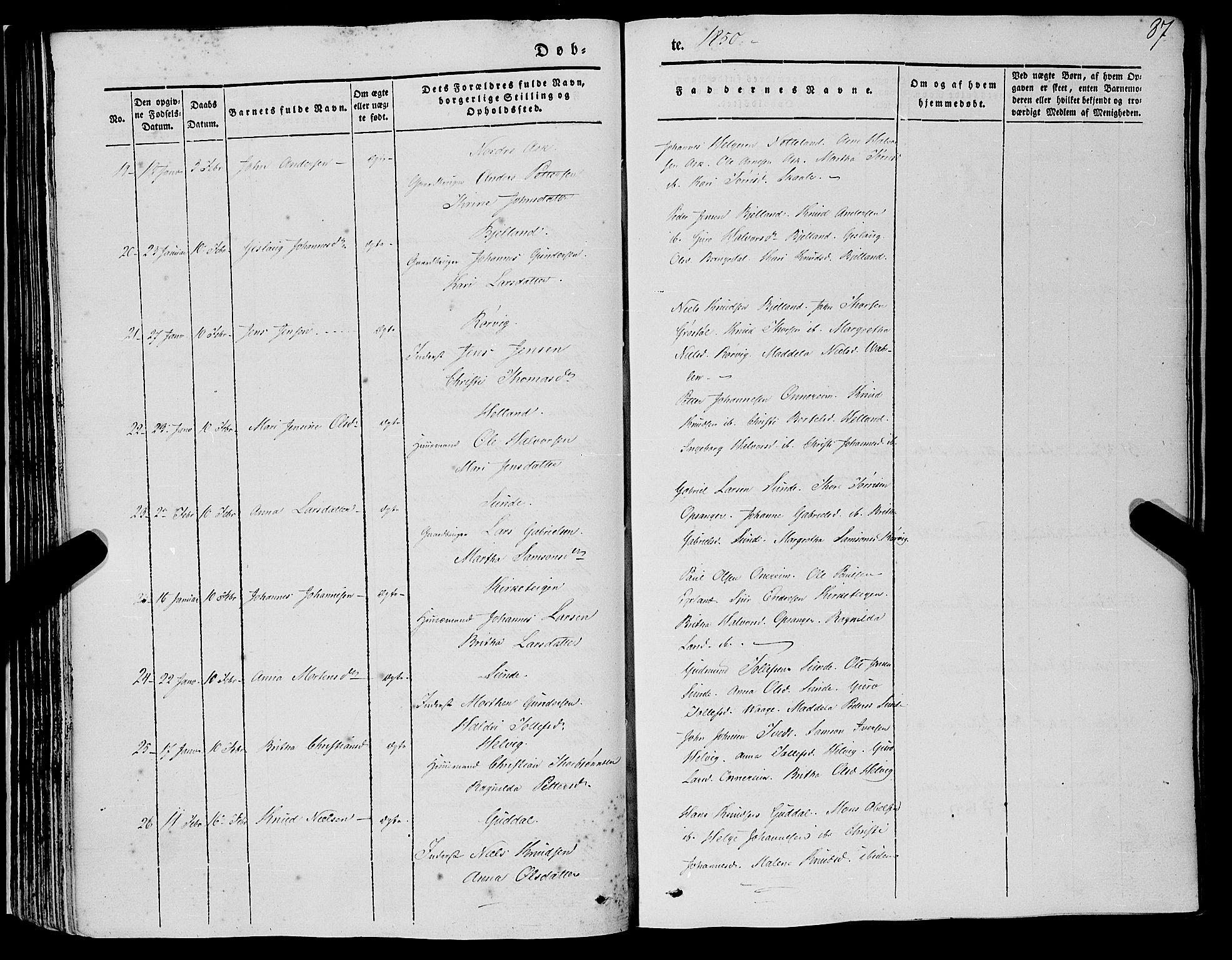SAB, Kvinnherad Sokneprestembete, H/Haa: Ministerialbok nr. A 7, 1843-1853, s. 87