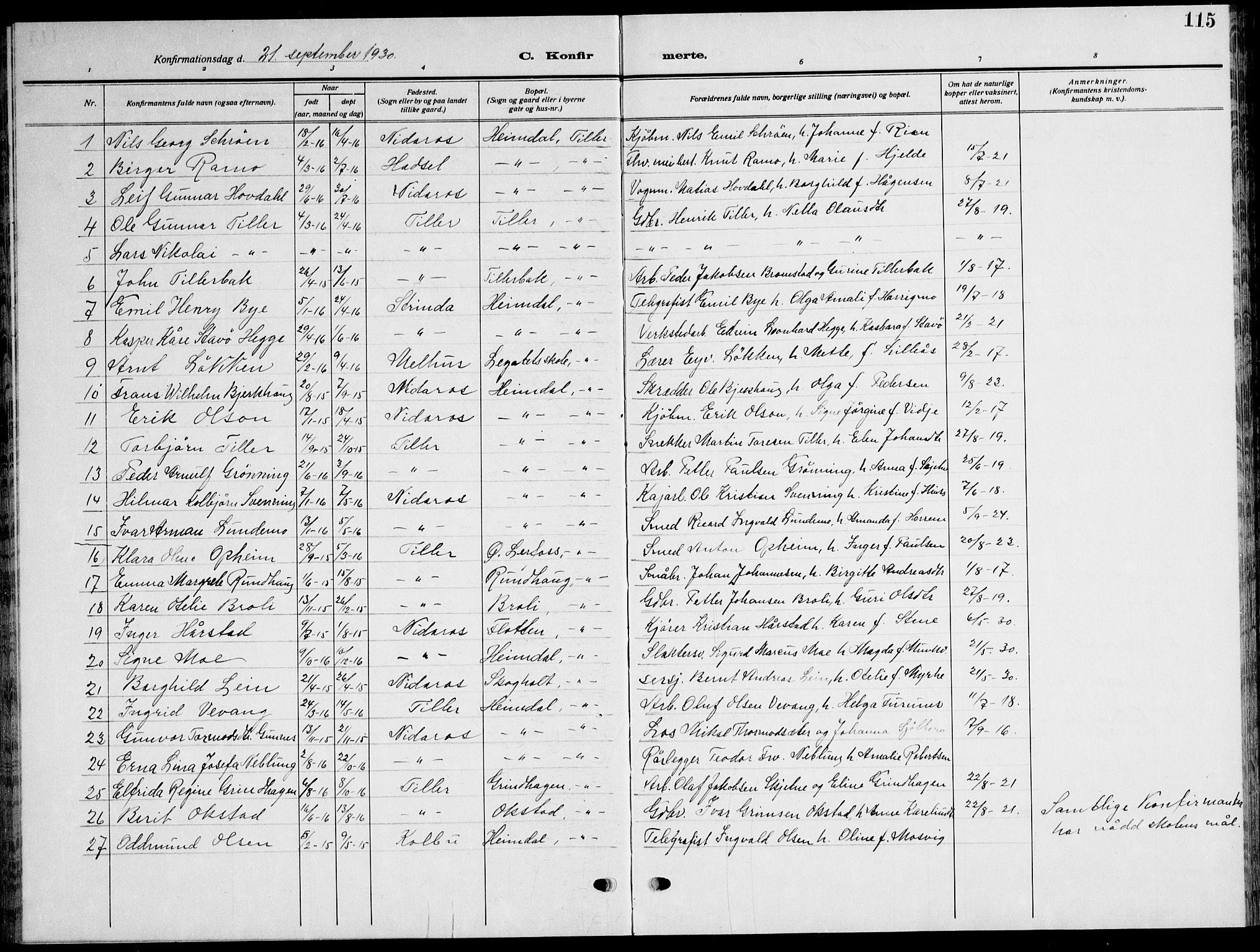 SAT, Ministerialprotokoller, klokkerbøker og fødselsregistre - Sør-Trøndelag, 621/L0462: Klokkerbok nr. 621C05, 1915-1945, s. 115