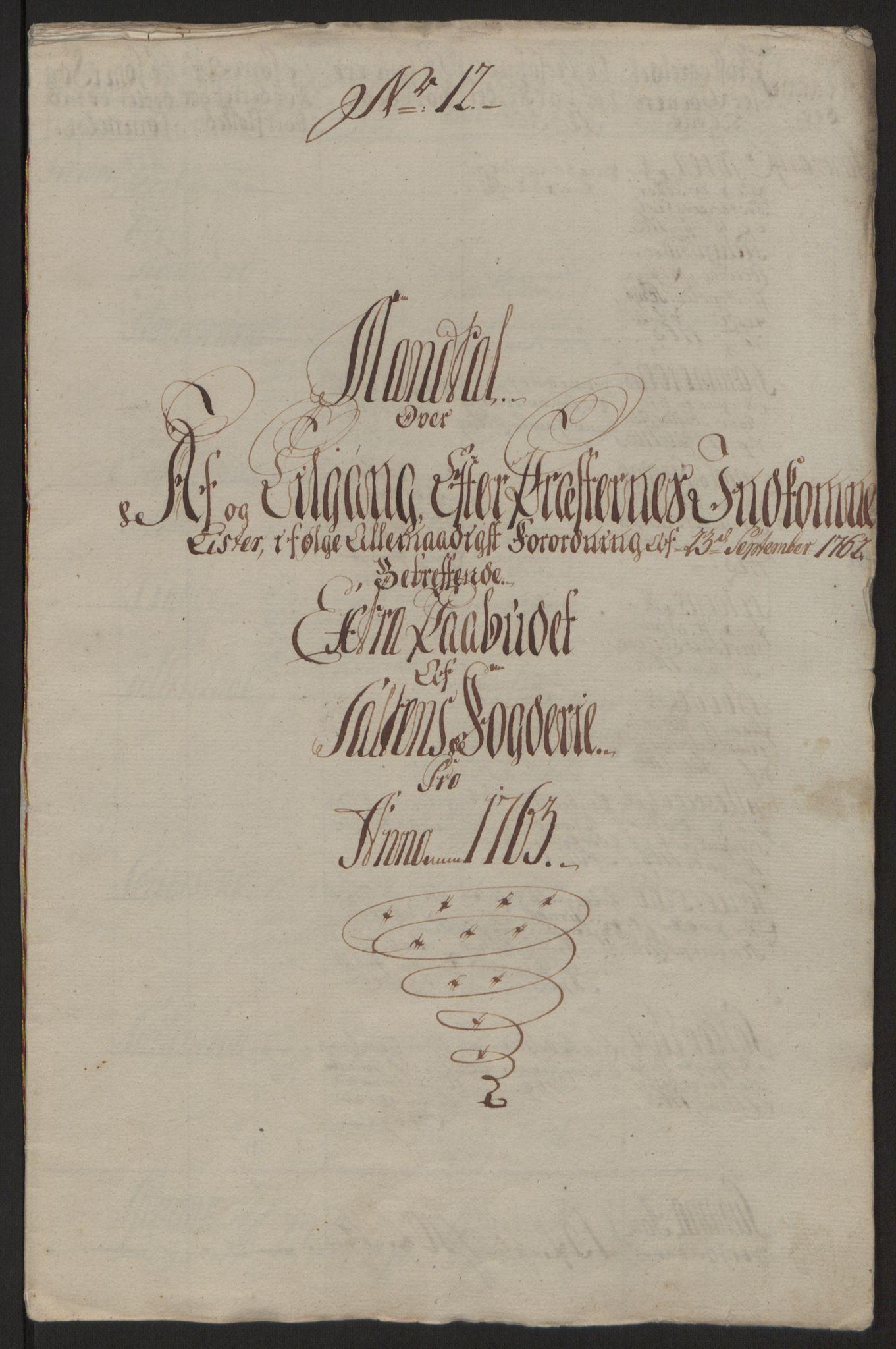RA, Rentekammeret inntil 1814, Reviderte regnskaper, Fogderegnskap, R66/L4670: Ekstraskatten Salten, 1762-1764, s. 150