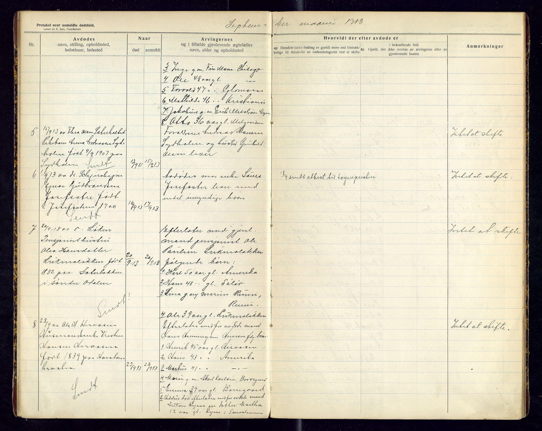 SAH, Sør-Odal lensmannskontor, H/Hb/L0002: Protokoller over anmeldte dødsfall, 1913-1915