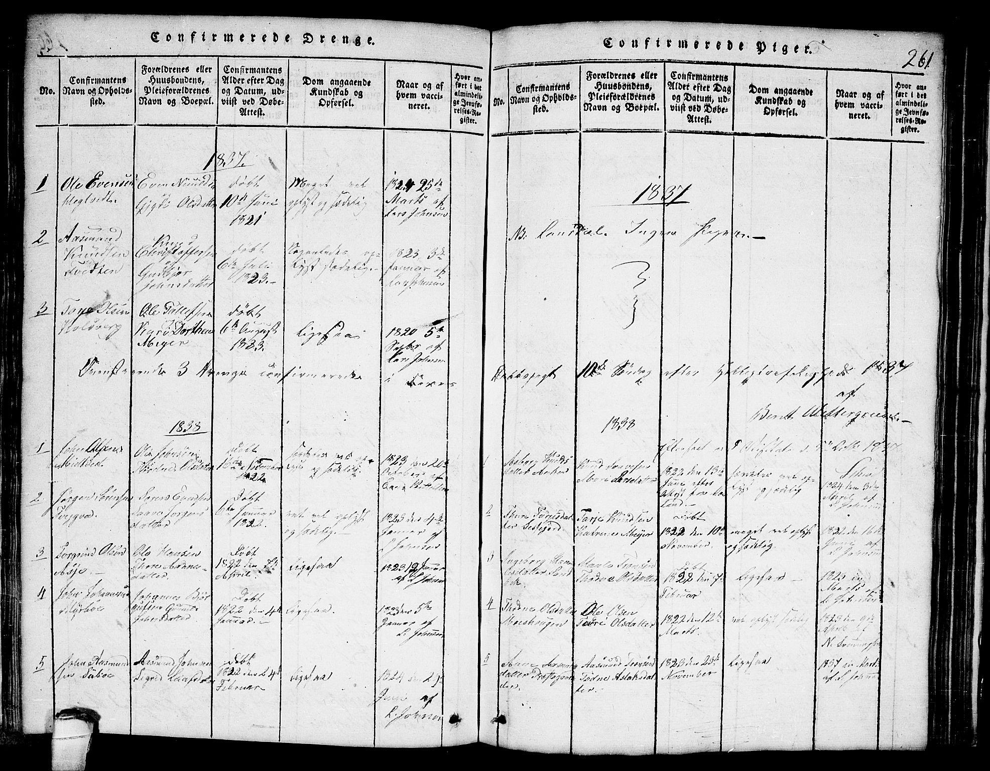 SAKO, Lårdal kirkebøker, G/Ga/L0001: Klokkerbok nr. I 1, 1815-1861, s. 261
