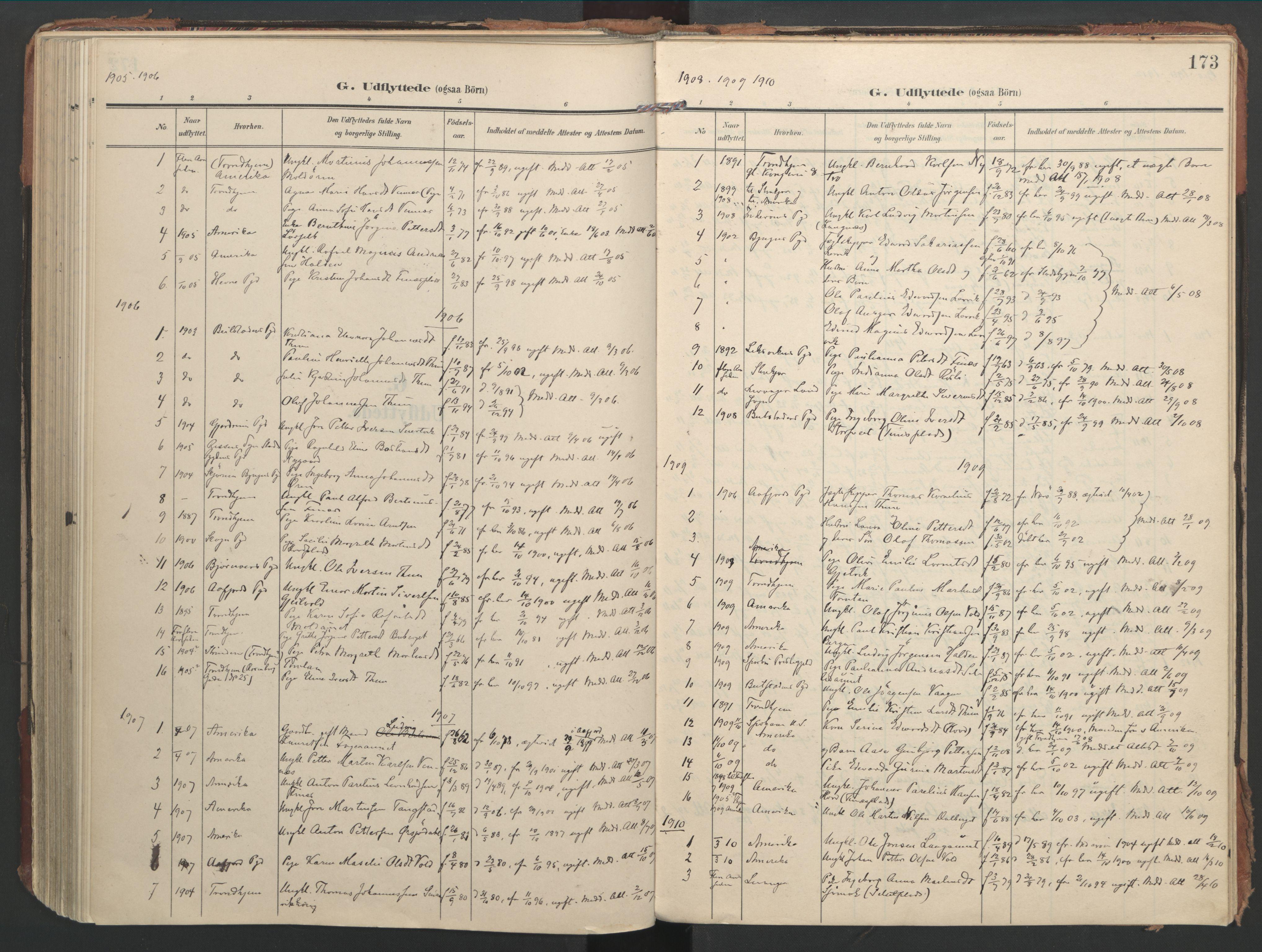 SAT, Ministerialprotokoller, klokkerbøker og fødselsregistre - Nord-Trøndelag, 744/L0421: Ministerialbok nr. 744A05, 1905-1930, s. 173