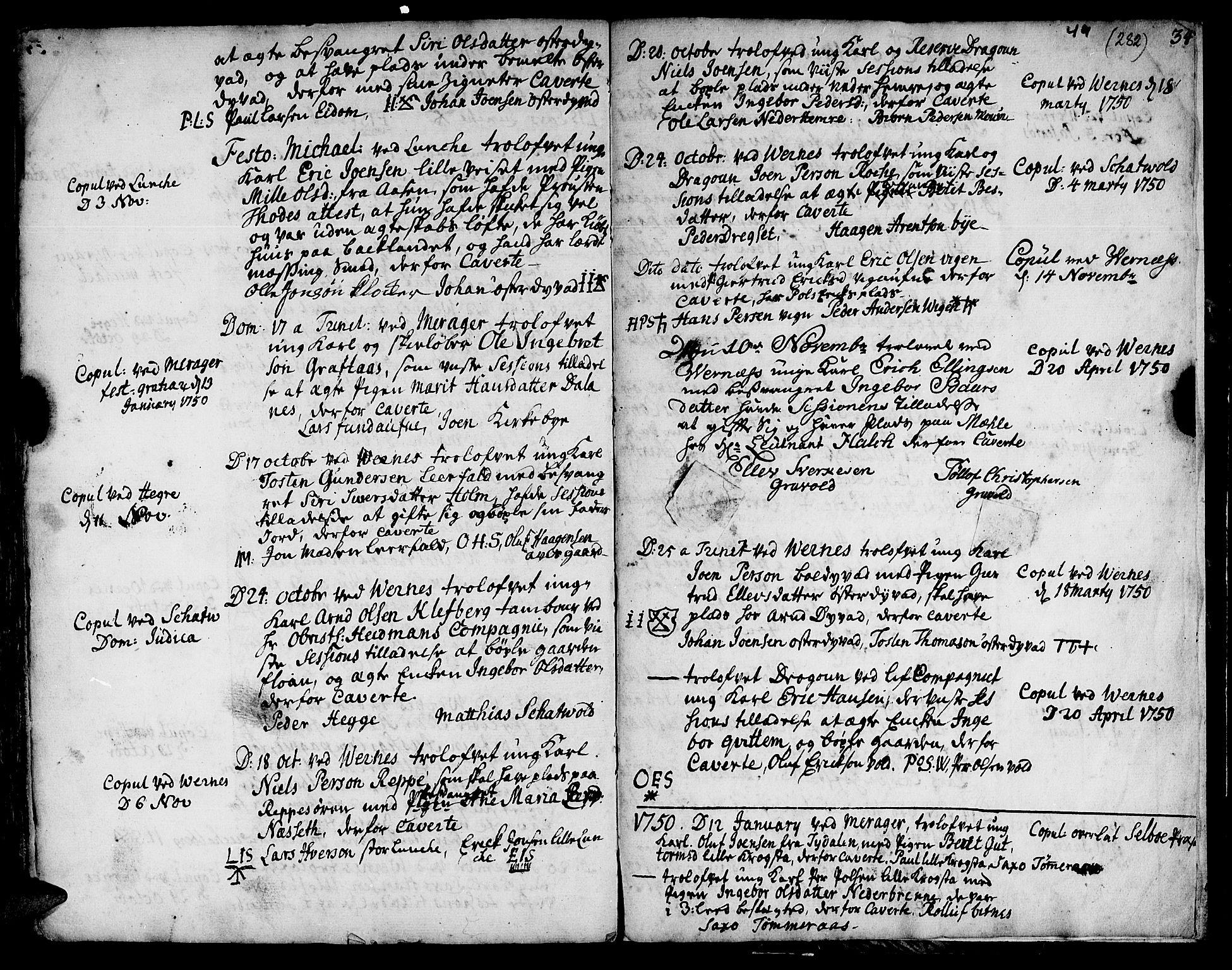 SAT, Ministerialprotokoller, klokkerbøker og fødselsregistre - Nord-Trøndelag, 709/L0056: Ministerialbok nr. 709A04, 1740-1756, s. 282