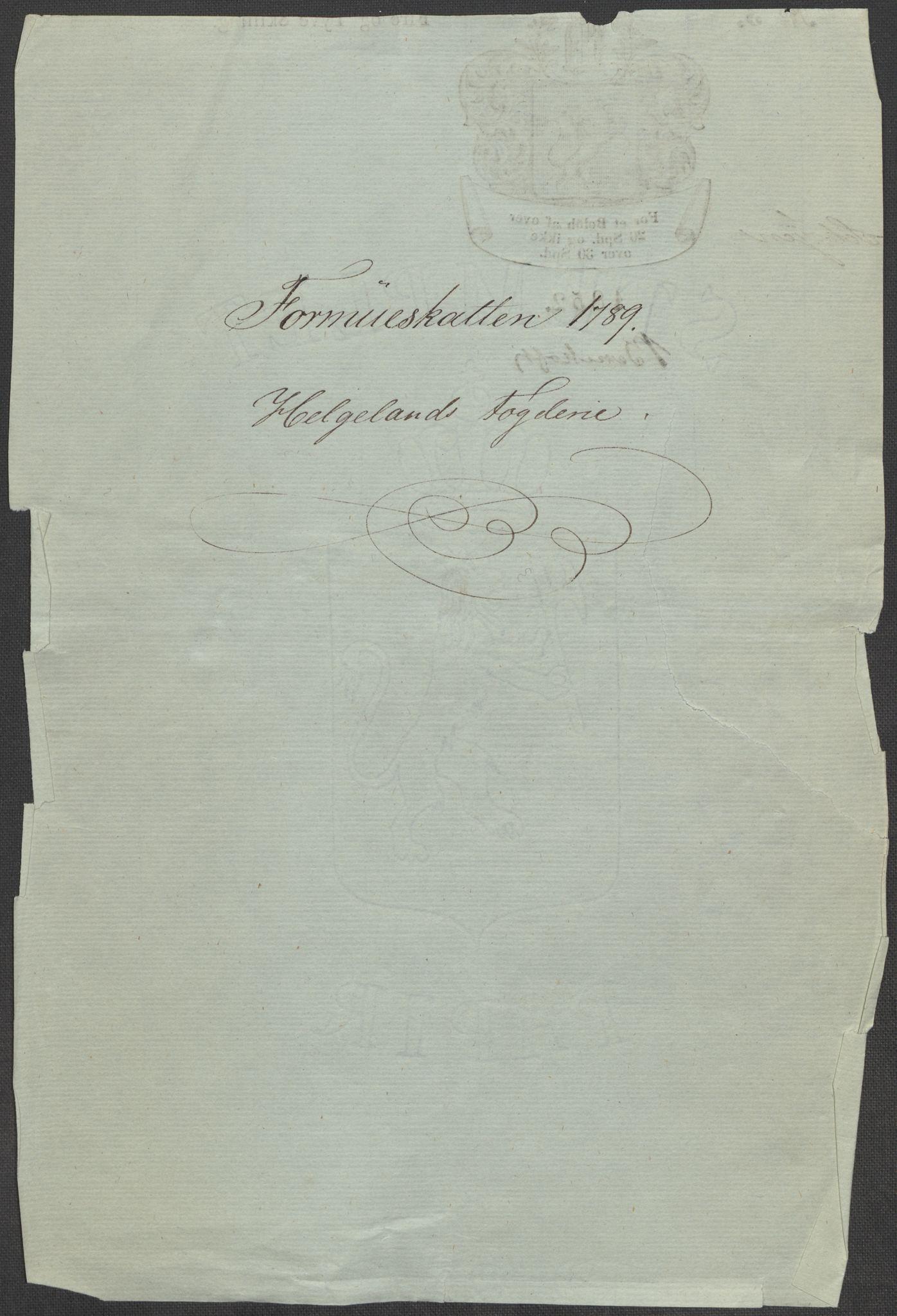 RA, Rentekammeret inntil 1814, Reviderte regnskaper, Mindre regnskaper, Rf/Rfe/L0014: Helgeland fogderi, 1789, s. 3