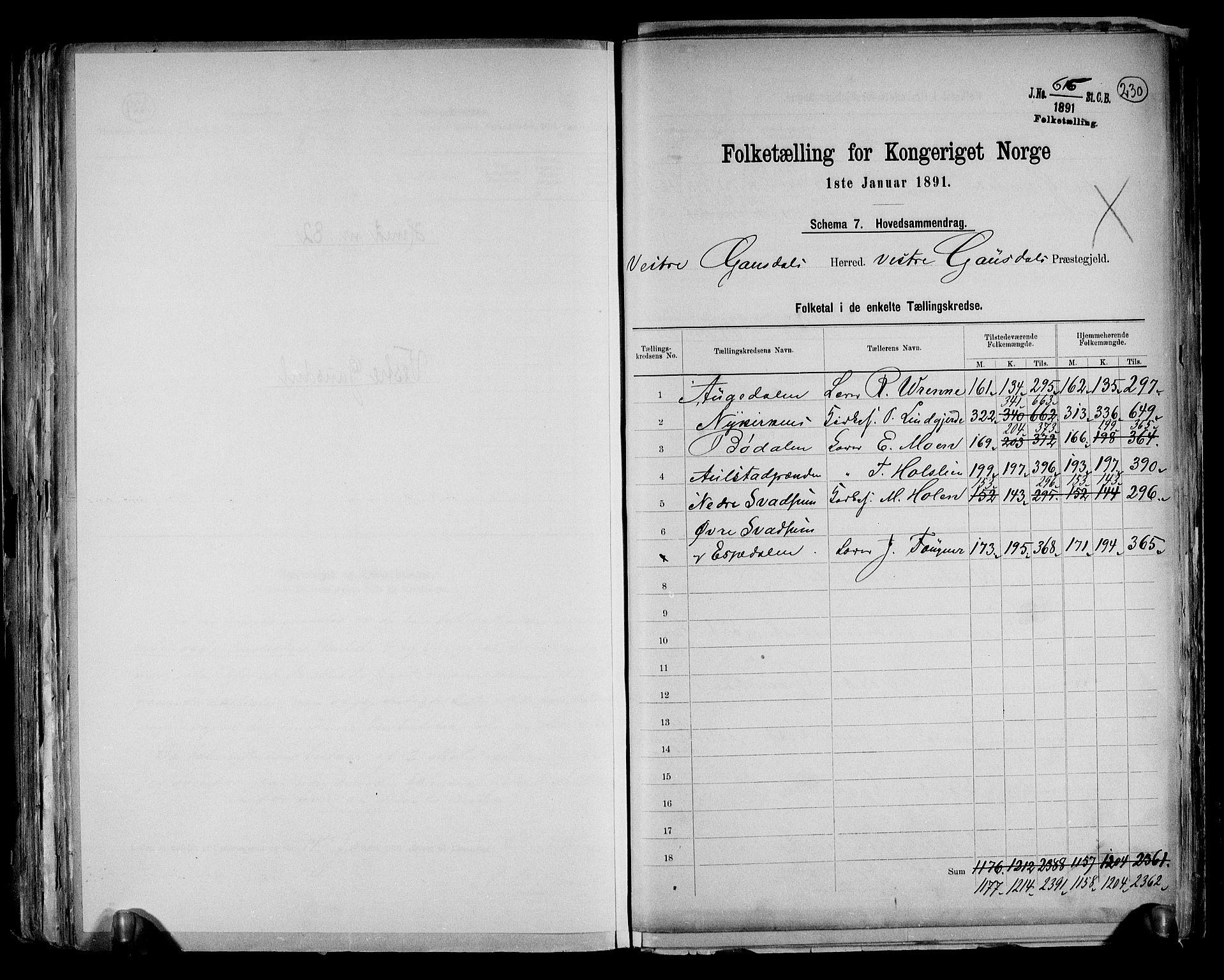 RA, Folketelling 1891 for 0523 Vestre Gausdal herred, 1891, s. 2