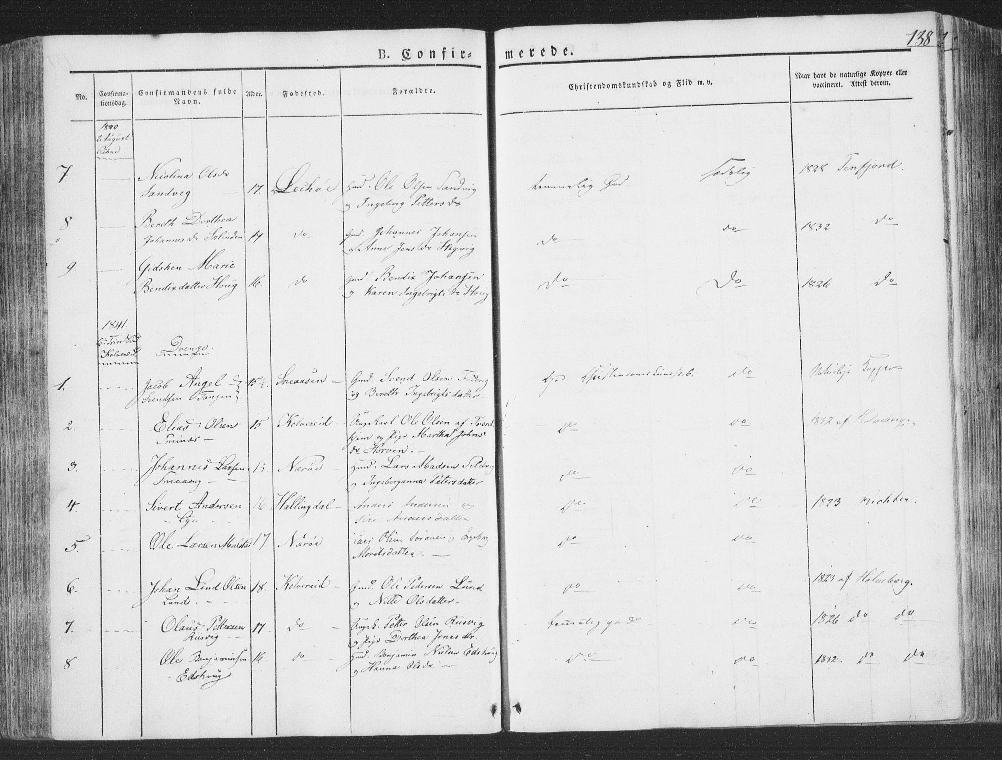 SAT, Ministerialprotokoller, klokkerbøker og fødselsregistre - Nord-Trøndelag, 780/L0639: Ministerialbok nr. 780A04, 1830-1844, s. 138