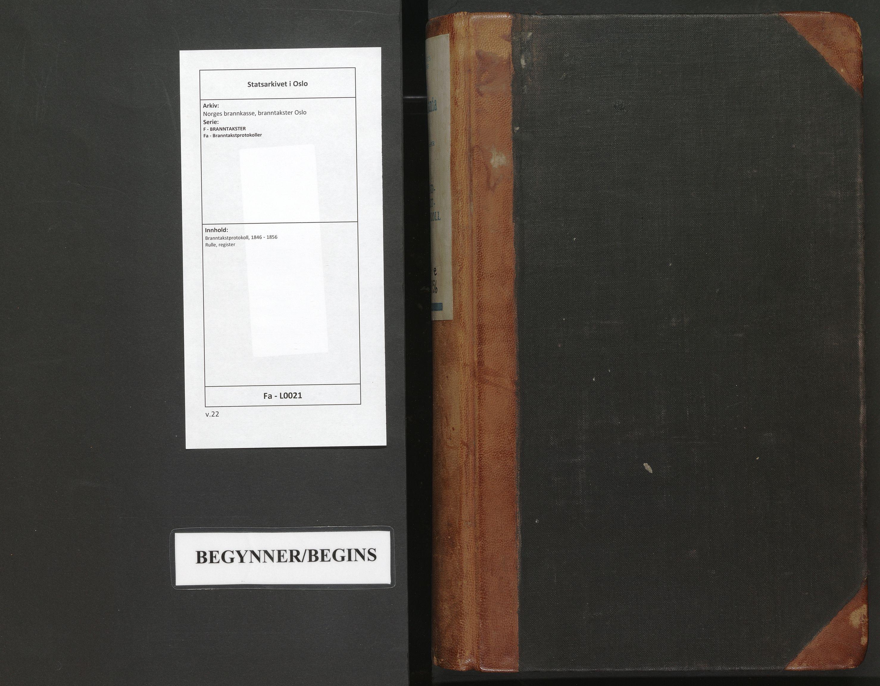 SAO, Norges brannkasse, branntakster Oslo, F/Fa/L0021: Branntakstprotokoll, 1846-1856