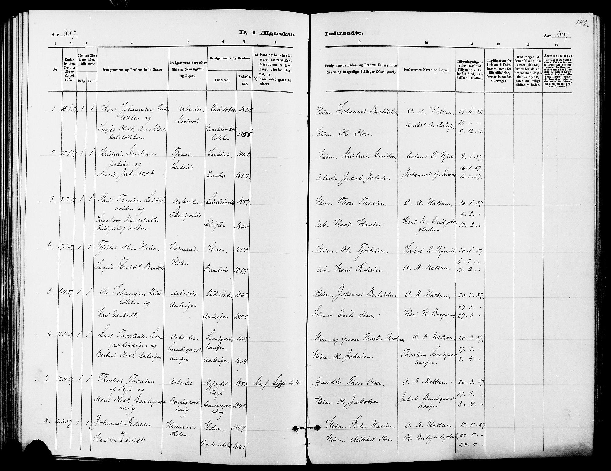 SAH, Dovre prestekontor, Ministerialbok nr. 2, 1879-1890, s. 142