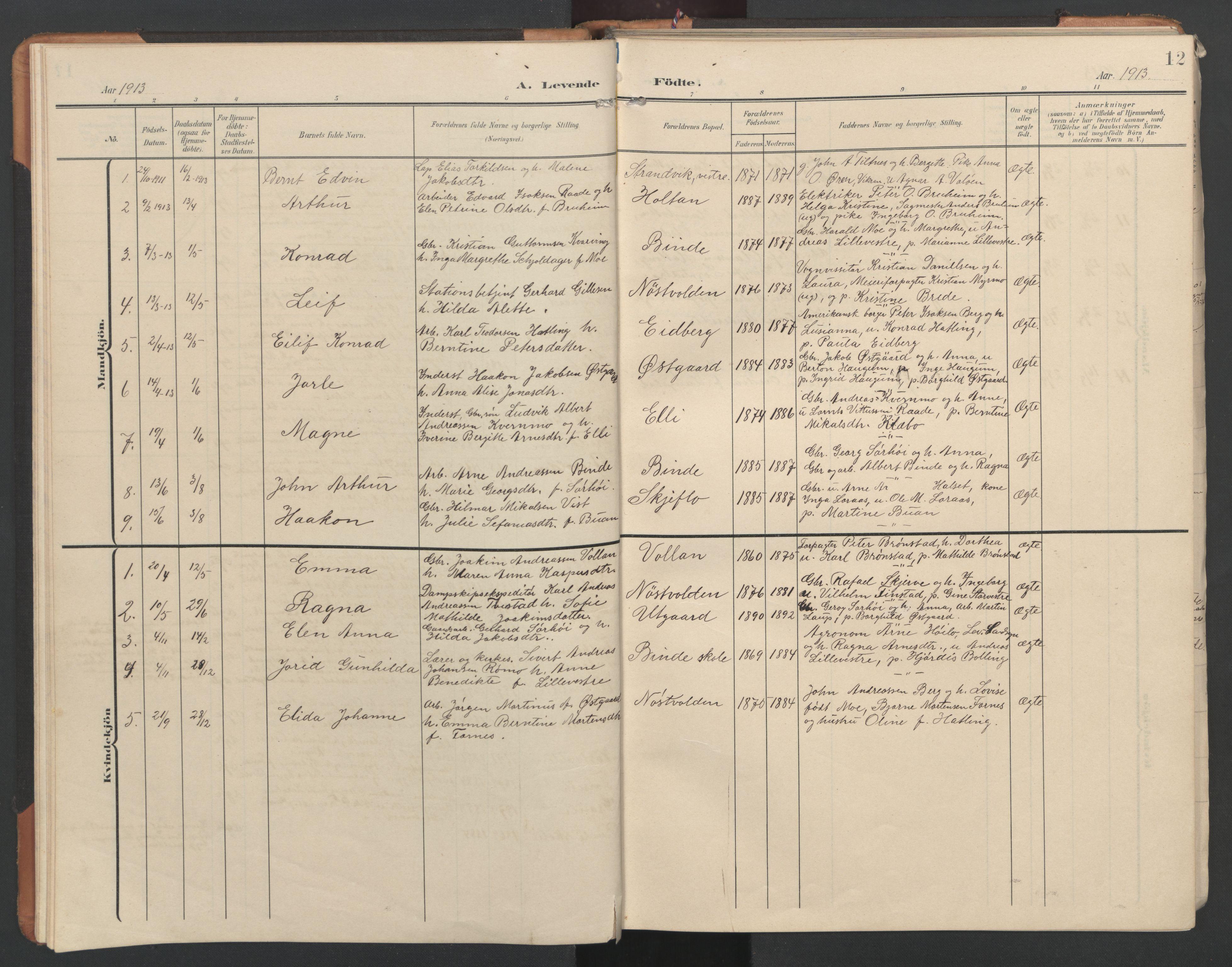 SAT, Ministerialprotokoller, klokkerbøker og fødselsregistre - Nord-Trøndelag, 746/L0455: Klokkerbok nr. 746C01, 1908-1933, s. 12