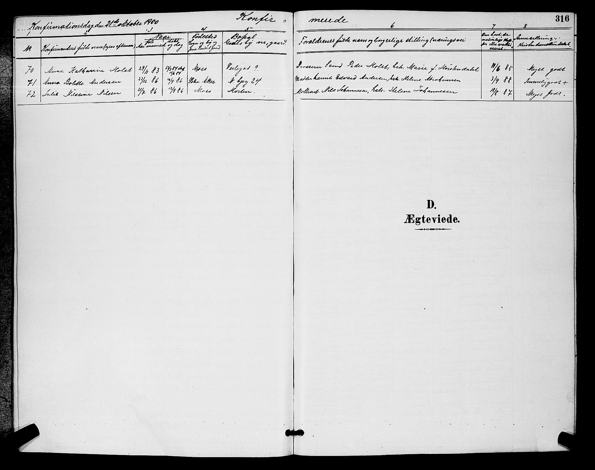 SAO, Moss prestekontor Kirkebøker, G/Ga/L0006: Klokkerbok nr. I 6, 1889-1900, s. 316