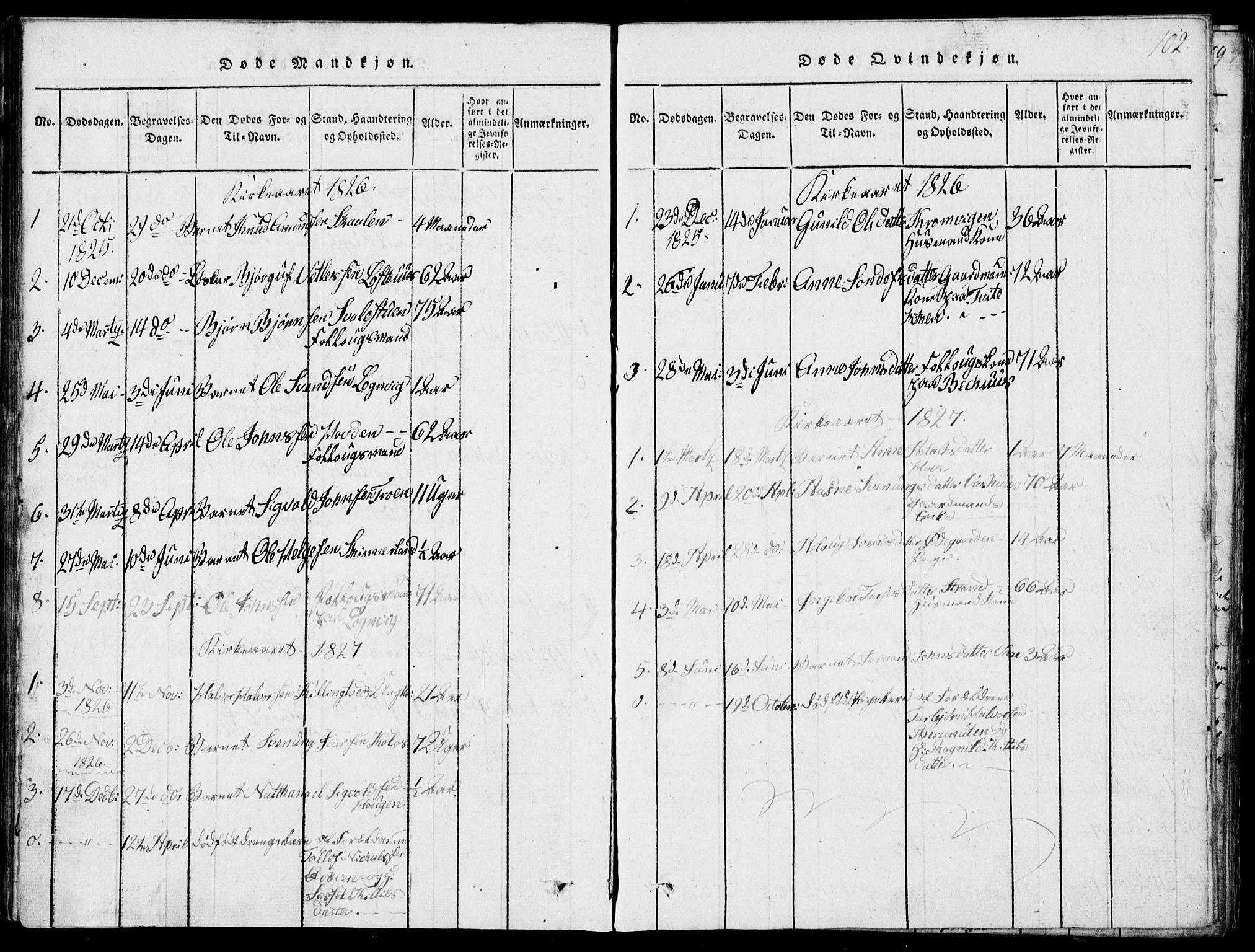 SAKO, Rauland kirkebøker, G/Ga/L0001: Klokkerbok nr. I 1, 1814-1843, s. 102