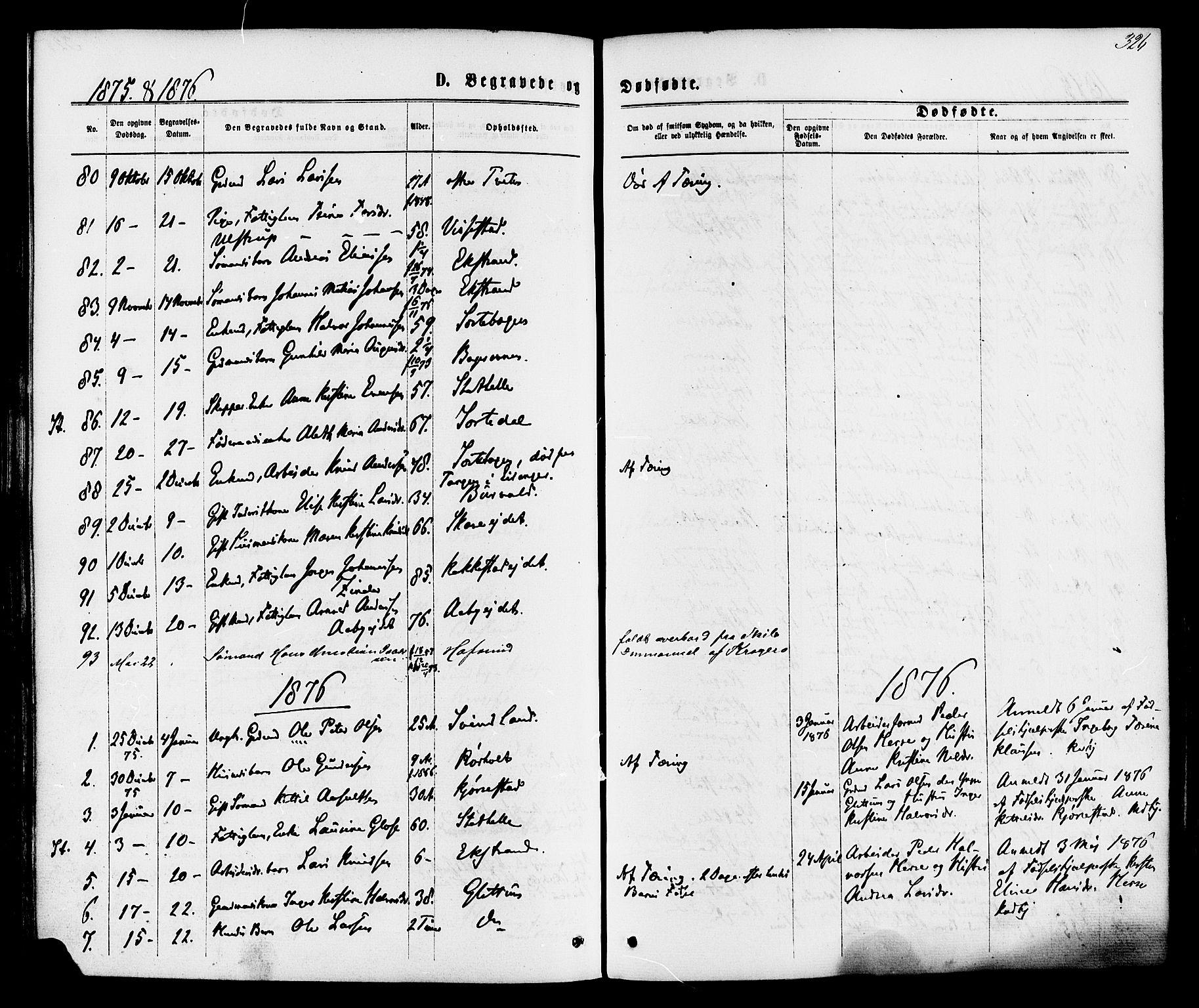SAKO, Bamble kirkebøker, F/Fa/L0006: Ministerialbok nr. I 6, 1869-1877, s. 326