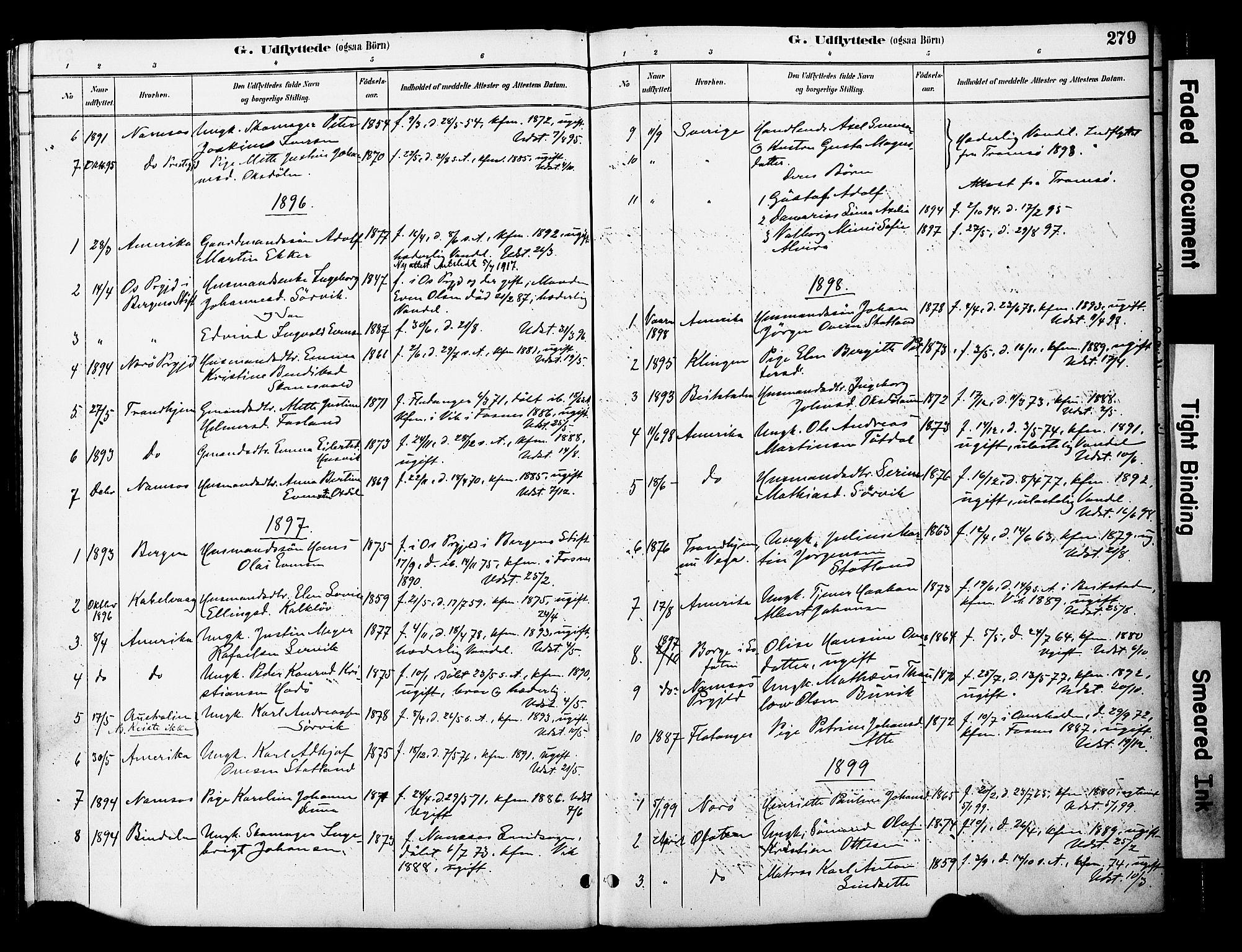 SAT, Ministerialprotokoller, klokkerbøker og fødselsregistre - Nord-Trøndelag, 774/L0628: Ministerialbok nr. 774A02, 1887-1903, s. 279