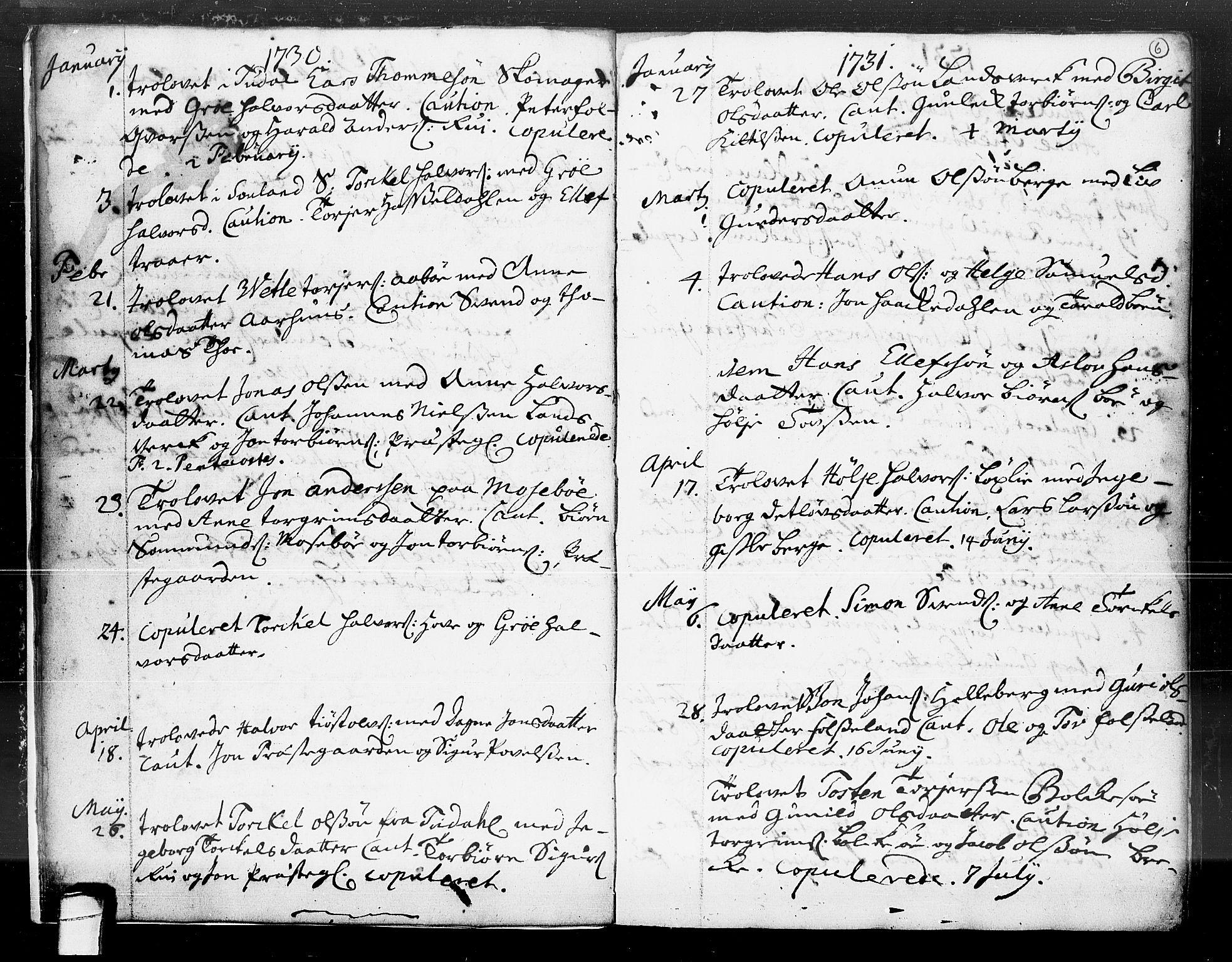 SAKO, Hjartdal kirkebøker, F/Fa/L0004: Ministerialbok nr. I 4, 1727-1795, s. 6