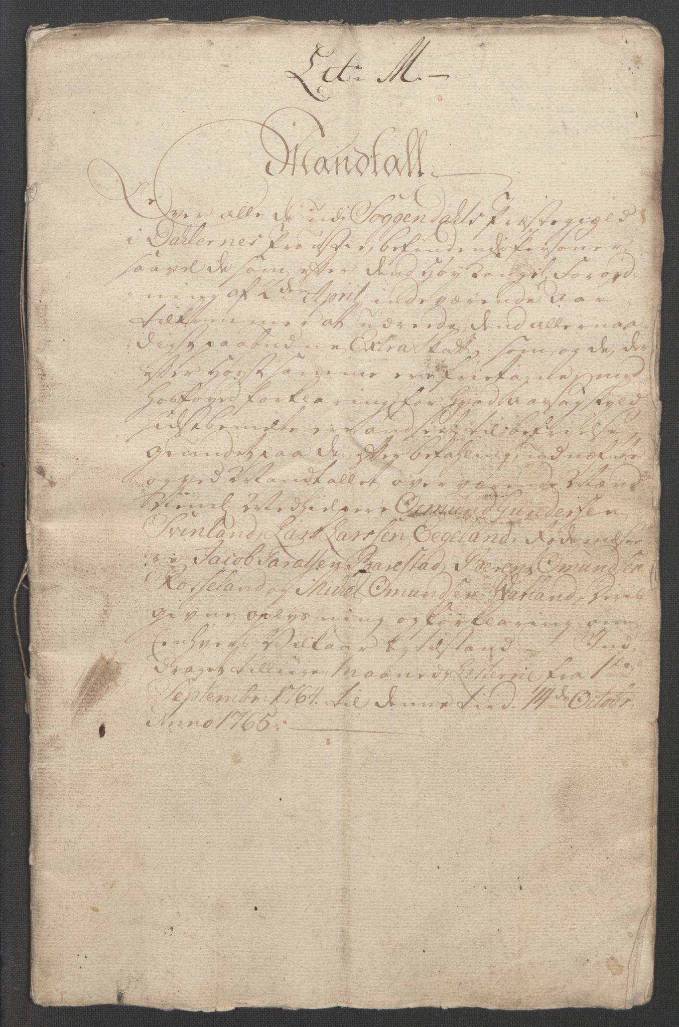 RA, Rentekammeret inntil 1814, Reviderte regnskaper, Fogderegnskap, R46/L2836: Ekstraskatten Jæren og Dalane, 1764-1766, s. 243