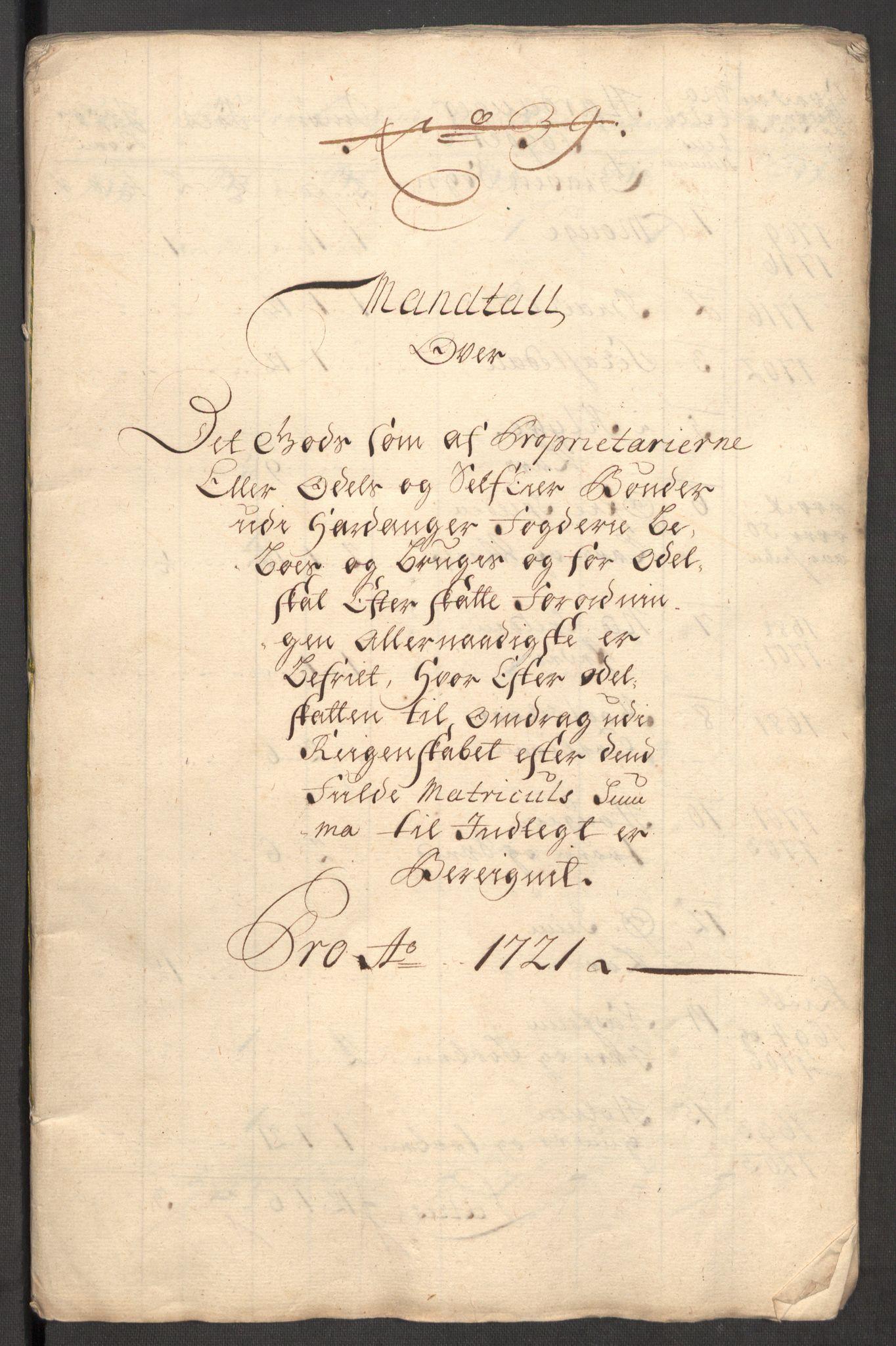RA, Rentekammeret inntil 1814, Reviderte regnskaper, Fogderegnskap, R48/L3000: Fogderegnskap Sunnhordland og Hardanger, 1721, s. 339